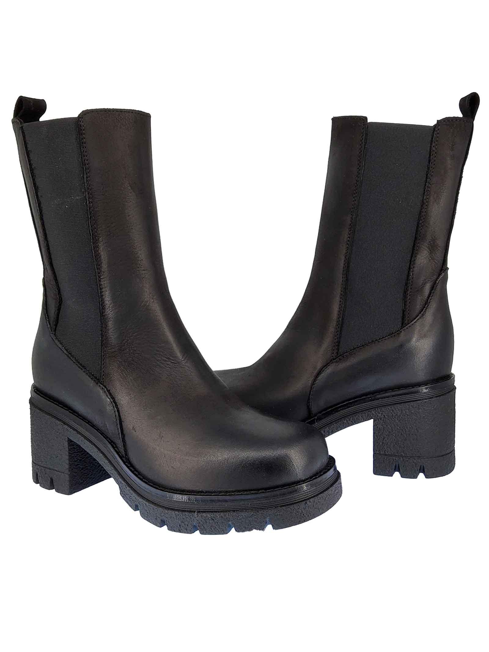 Calzature Donna Stivaletti Chelsea Boot in Pelle Nera con Elastici Laterali in Tinta e Fondo Para Spatarella   Stivaletti   Q3001