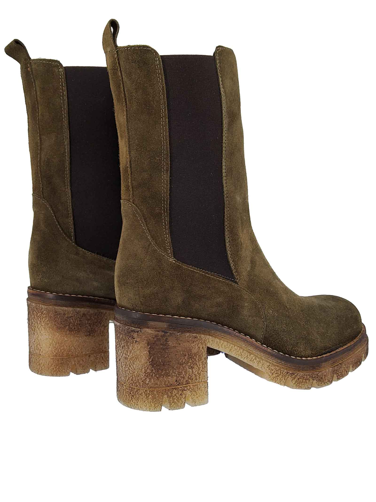 Women's Chelsea Boot in Green Suede with Matching Side Elastics and Para Sole Spatarella | Ankle Boots | Q3005
