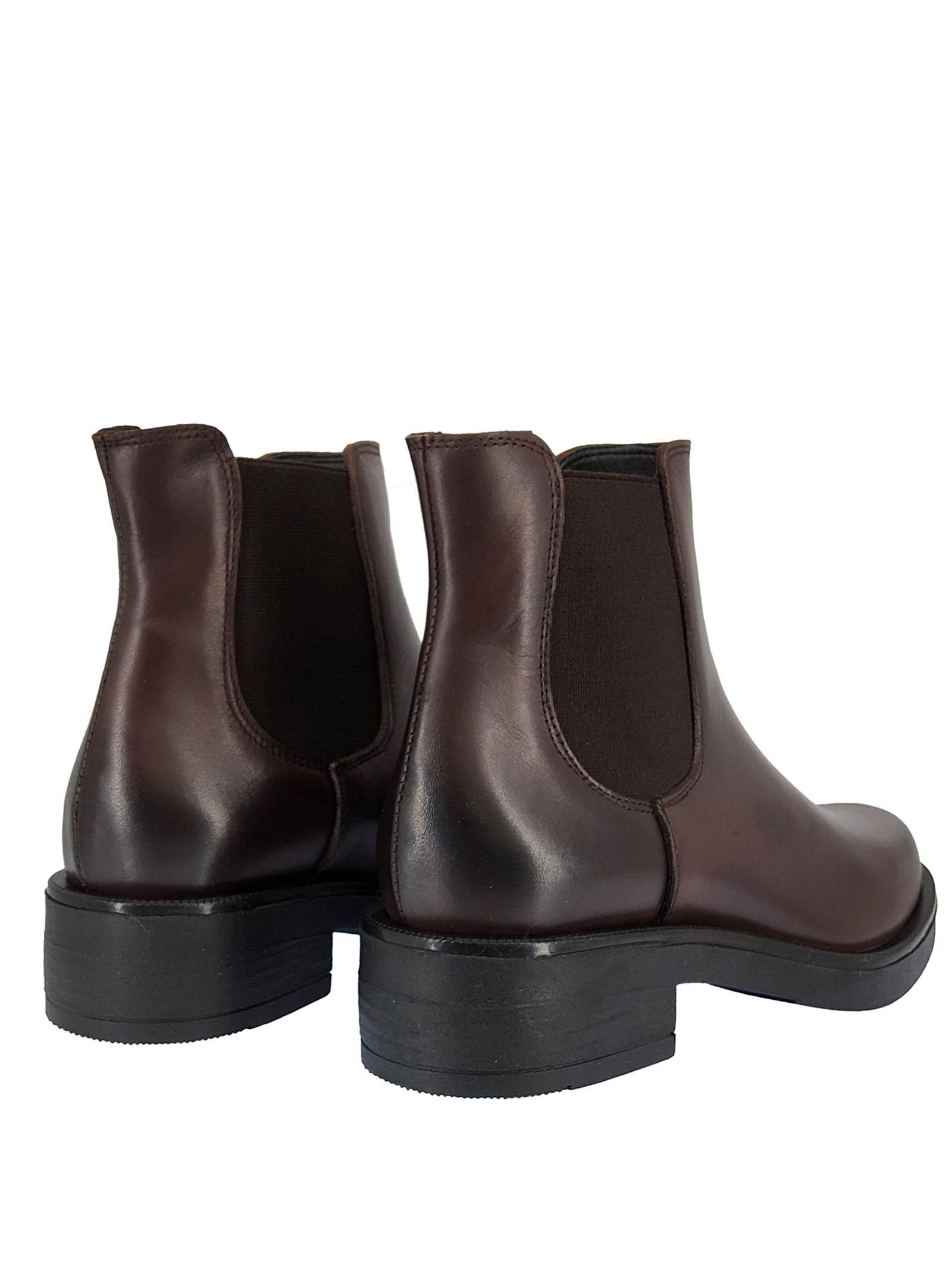 Women's Beatles Ankle Boots in Brown Leather with Matching Side Elastics Round Toe and Rubber Sole  Spatarella | Ankle Boots | TR4021013