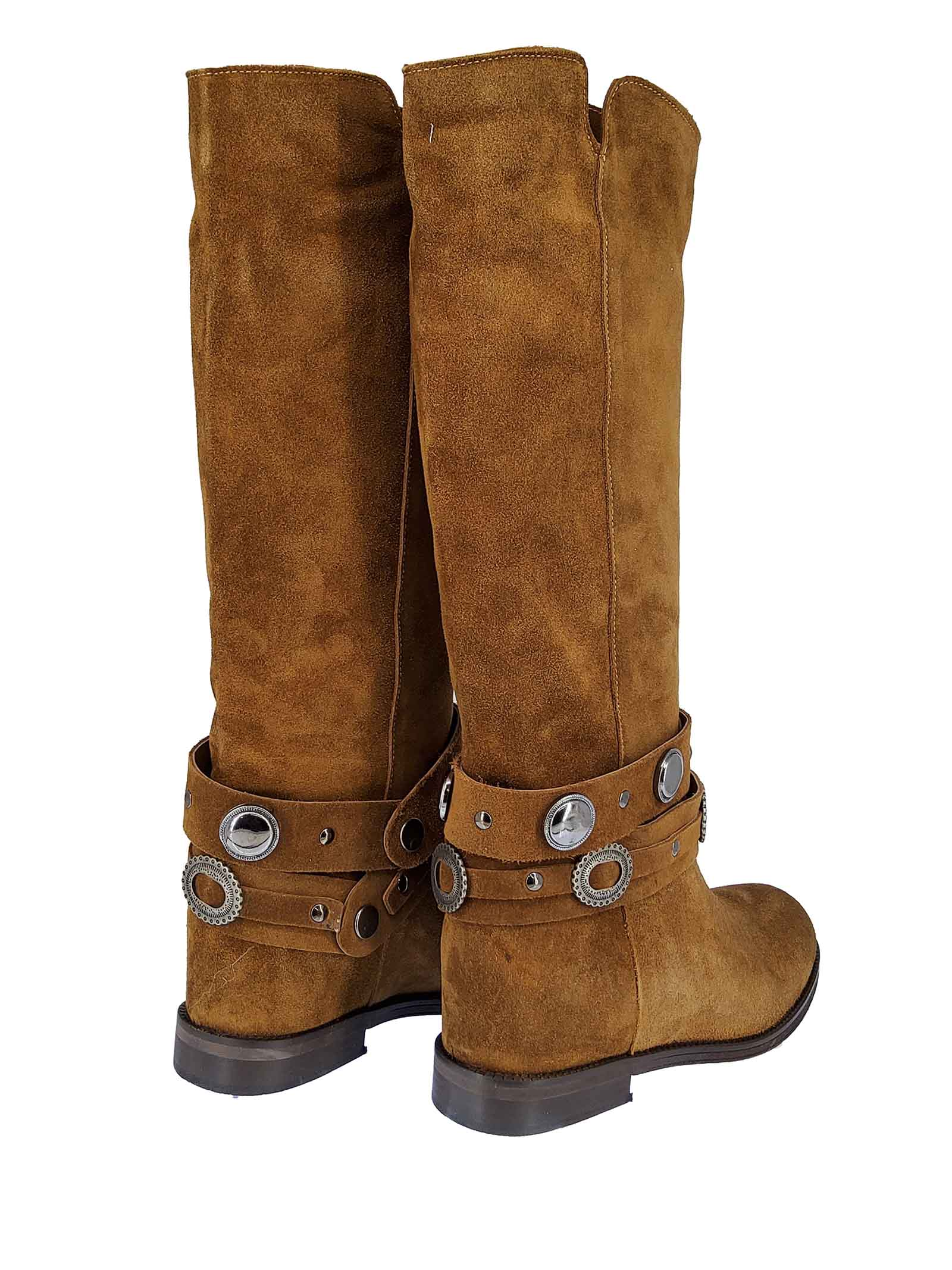 Women's Shoes Boots in Tan Suede with Strap and Studs Inside Wedge Spatarella | Boots | TS8010014