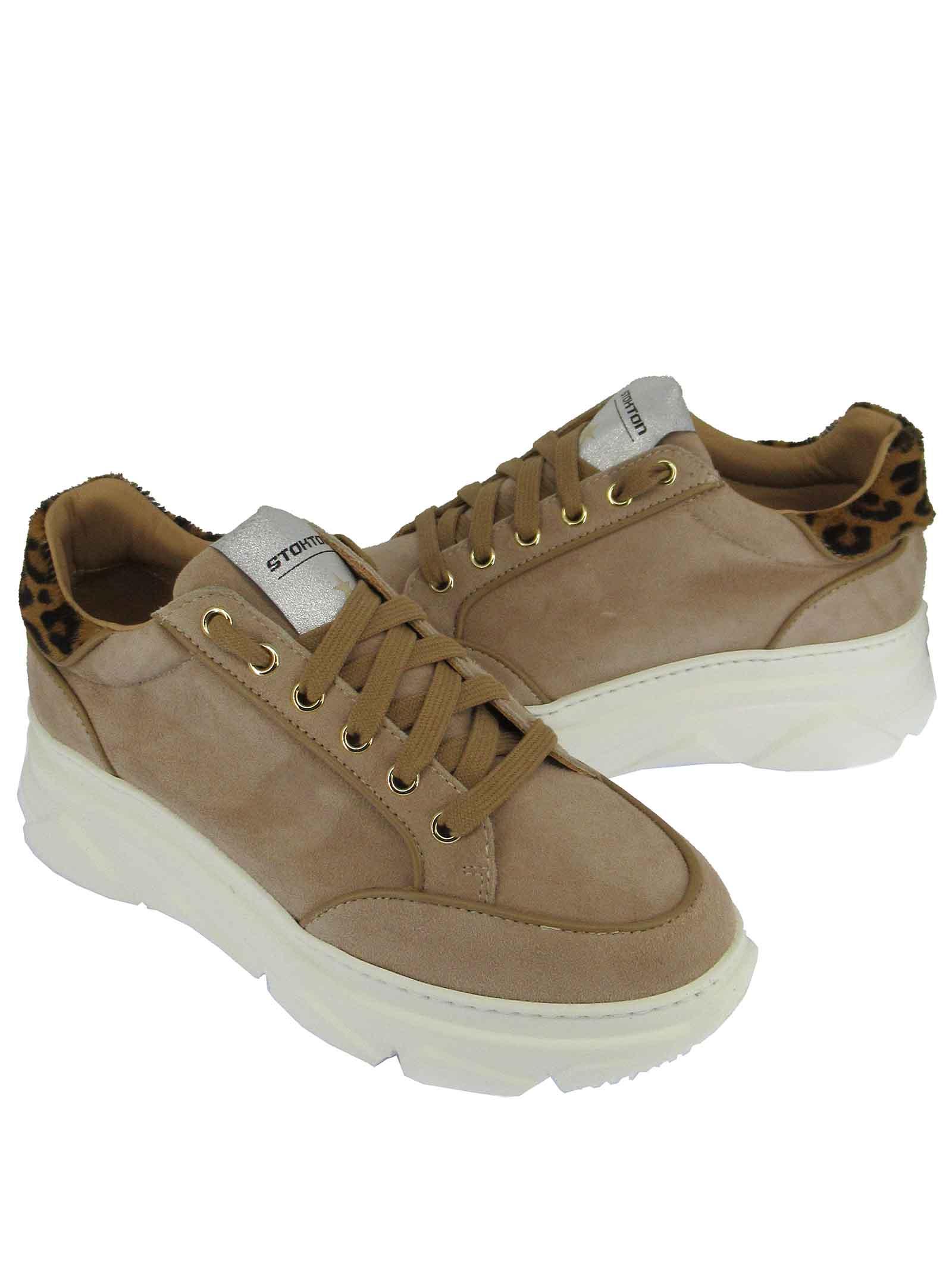 Calzature Donna Sneakers Stringate in Camoscio Camel con Riporti in Animalier e Fondo Zeppa Stokton | Sneakers | 421-D500