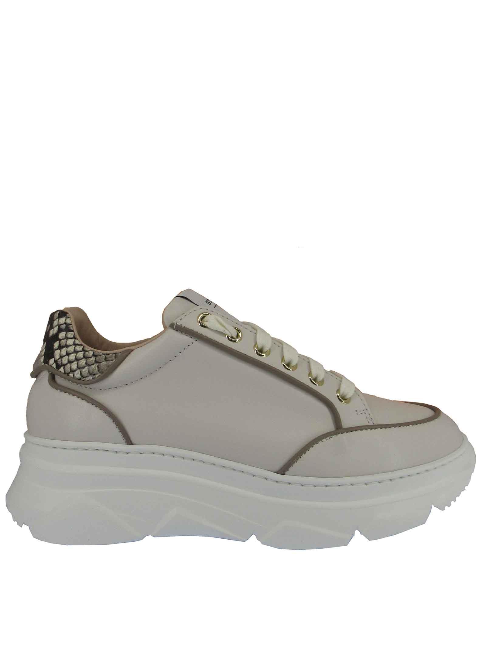 Calzature Donna Sneakers Stringate in Pelle Panna con Riporti in Pelle Pitone e Fondo Zeppa Stokton   Sneakers   421-D502