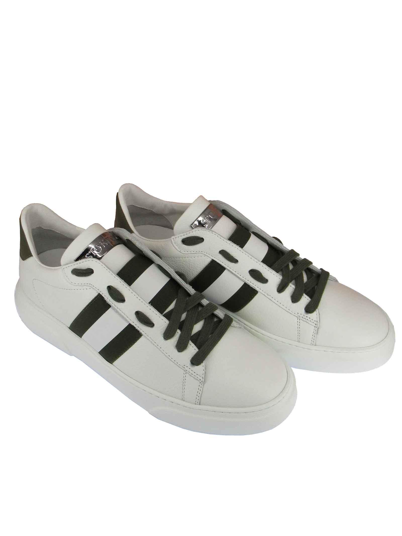Calzature Uomo Sneakers Stringate in Pelle Bianca con Riporti in Verde e Fondo Gomma Stokton   Sneakers   650-U101