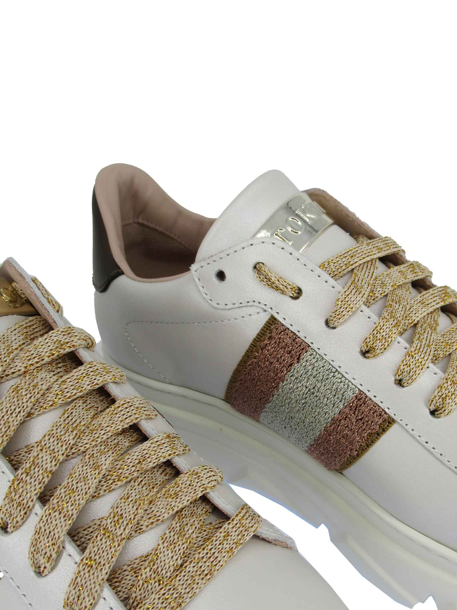 Women's Shoes Sneakers in Ivory Leather with Laminated Side Band and Rubber Wedge Sole Stokton | Sneakers | 758-D301