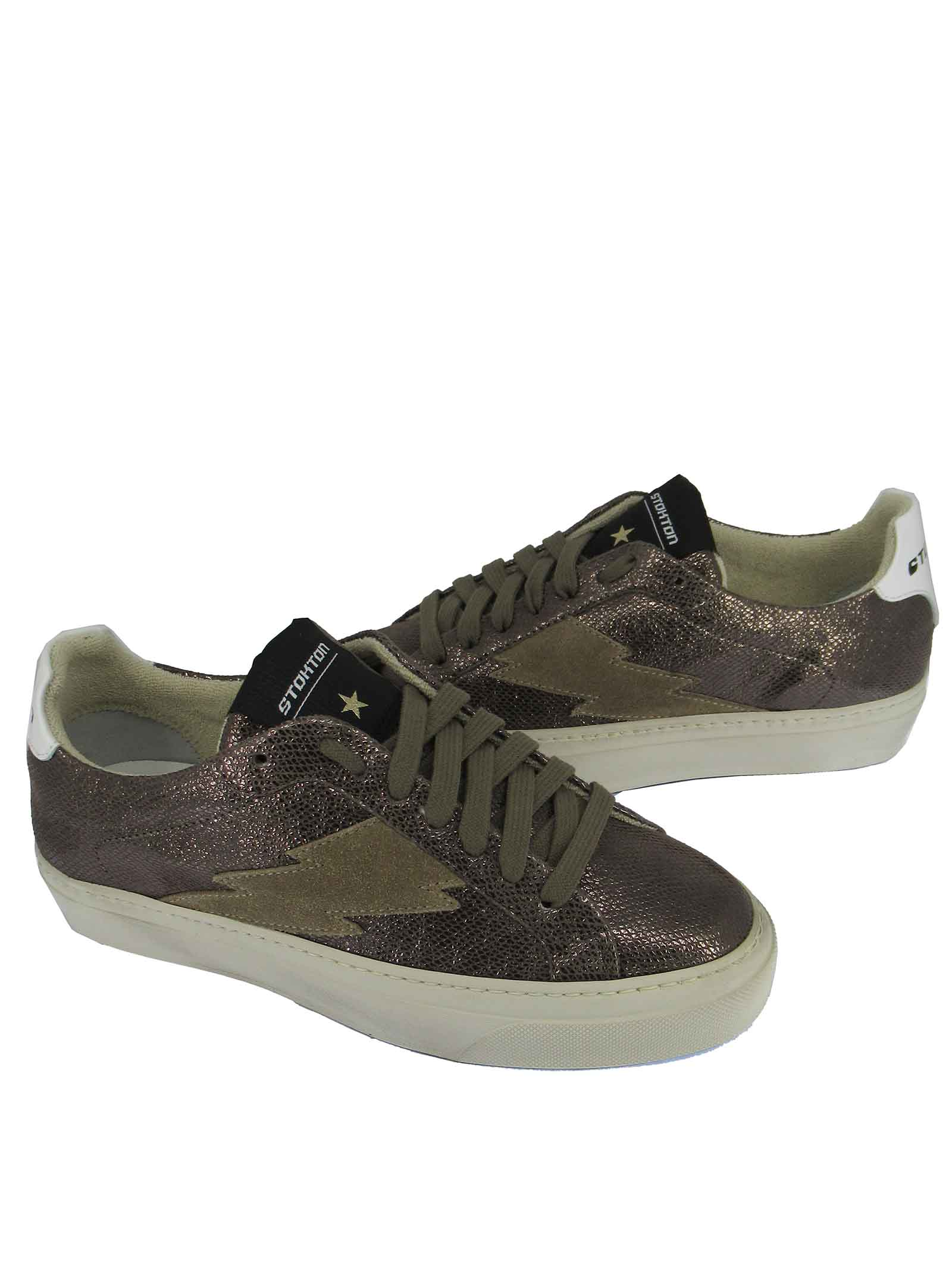 Calzature Donna Sneakers Stringate in Pelle Laminata Canna di Fucile con Fondo in Gomma Stokton | Sneakers | BLAZE-DCALCUTTA