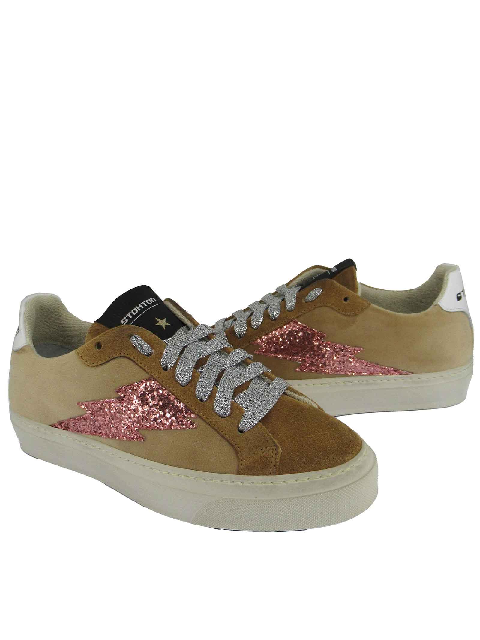 Calzature Donna Sneakers Stringate in Velluto e Camoscio Camel con Fondo in Gomma Stokton | Sneakers | BLAZE-DVICTORIA