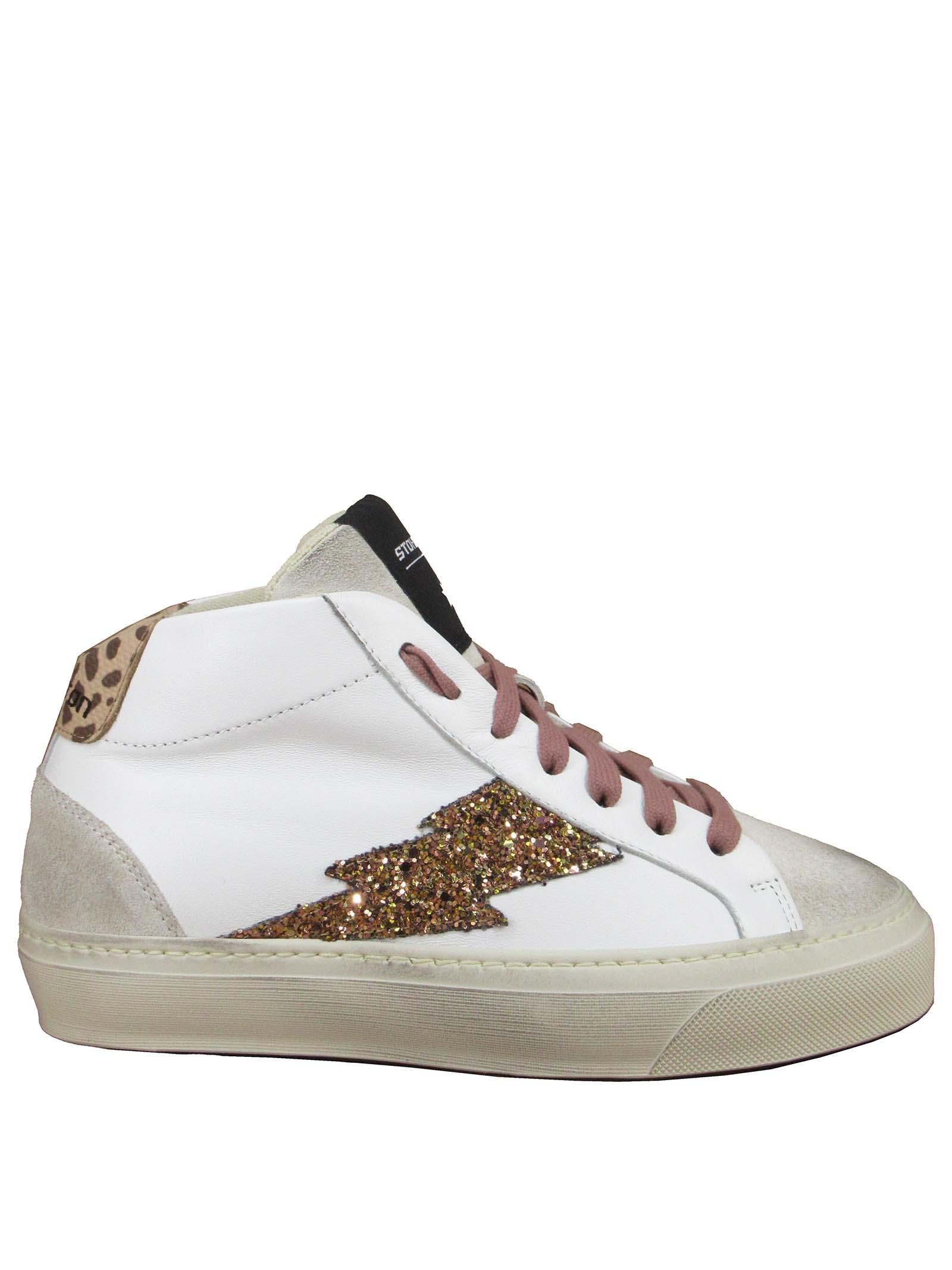 Calzature Donna Sneakers a Stivaletto Stringate in Pelle Bianca con Fondo in Gomma Stokton | Sneakers | BOLT-D001