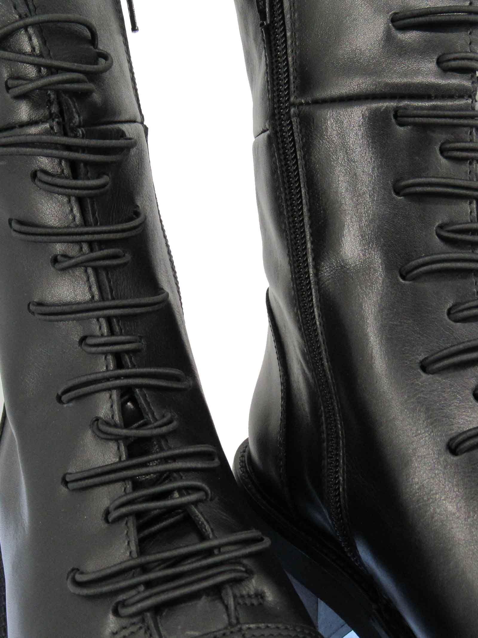 Women's Shoes Ankle Boots in Black Leather with Elastics and Buttons with Side Zip and Rubber Sole Tattoo | Ankle Boots | GAIA 6001