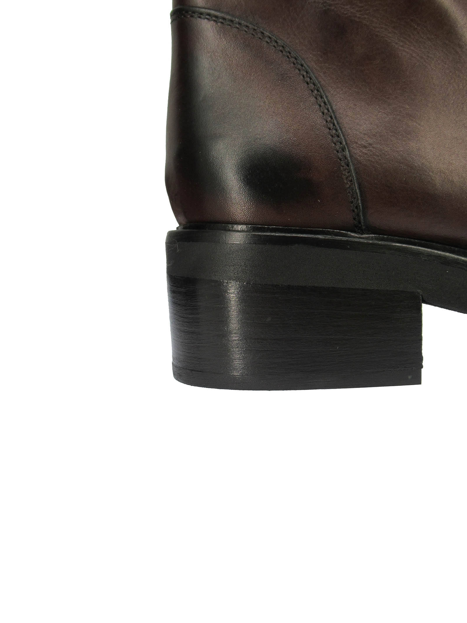 Calzature Donna Stivaletti in Pelle Testa Di Moro con Elastici e Zip Laterale con Fondo in Gomma Tattoo | Stivaletti | GAIA 6014