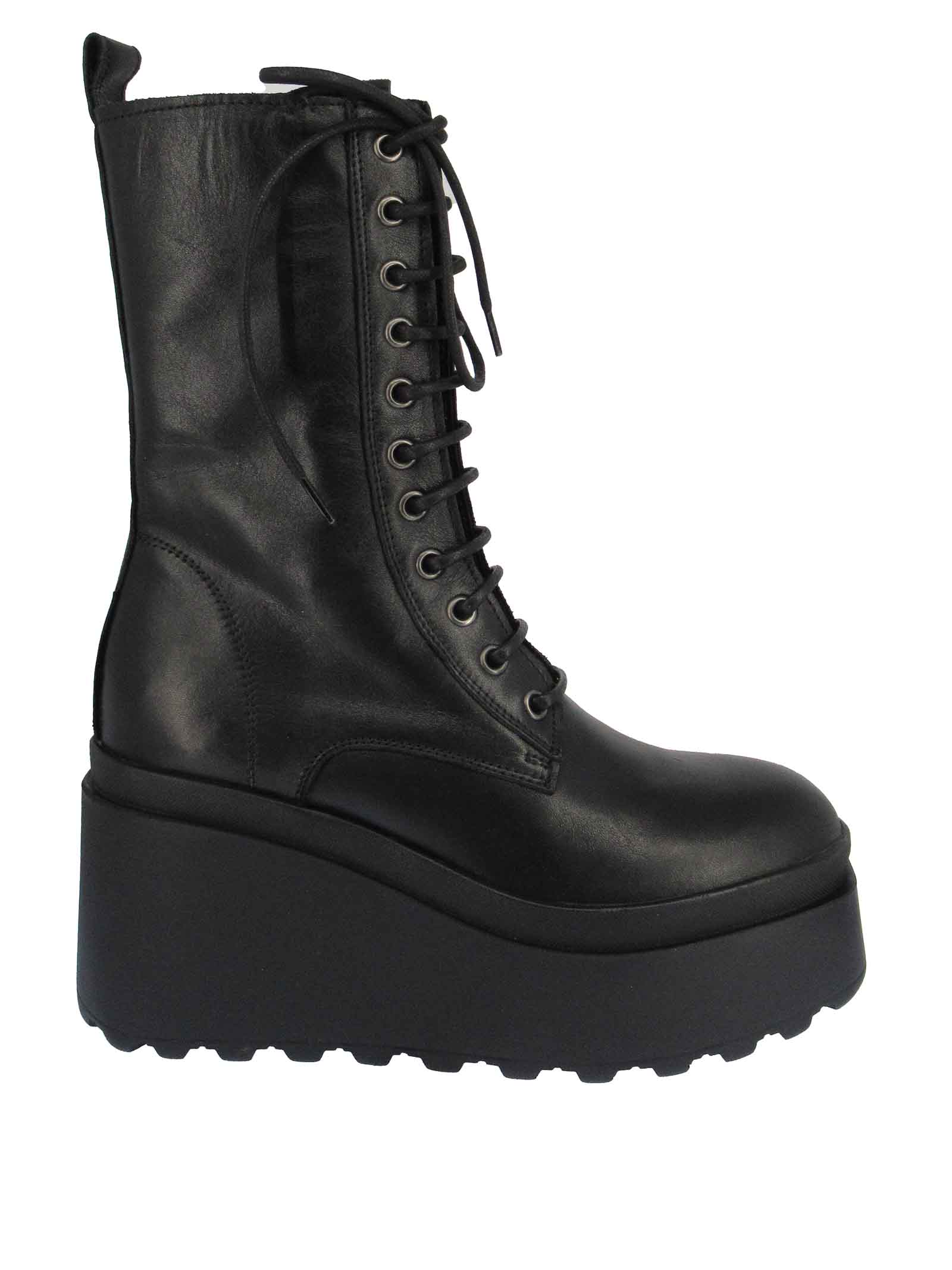 Women's Shoes Lace-up Boots in Black Leather with Side Zip and High Wedge Sole Tattoo | Ankle Boots | JOLLY 2001