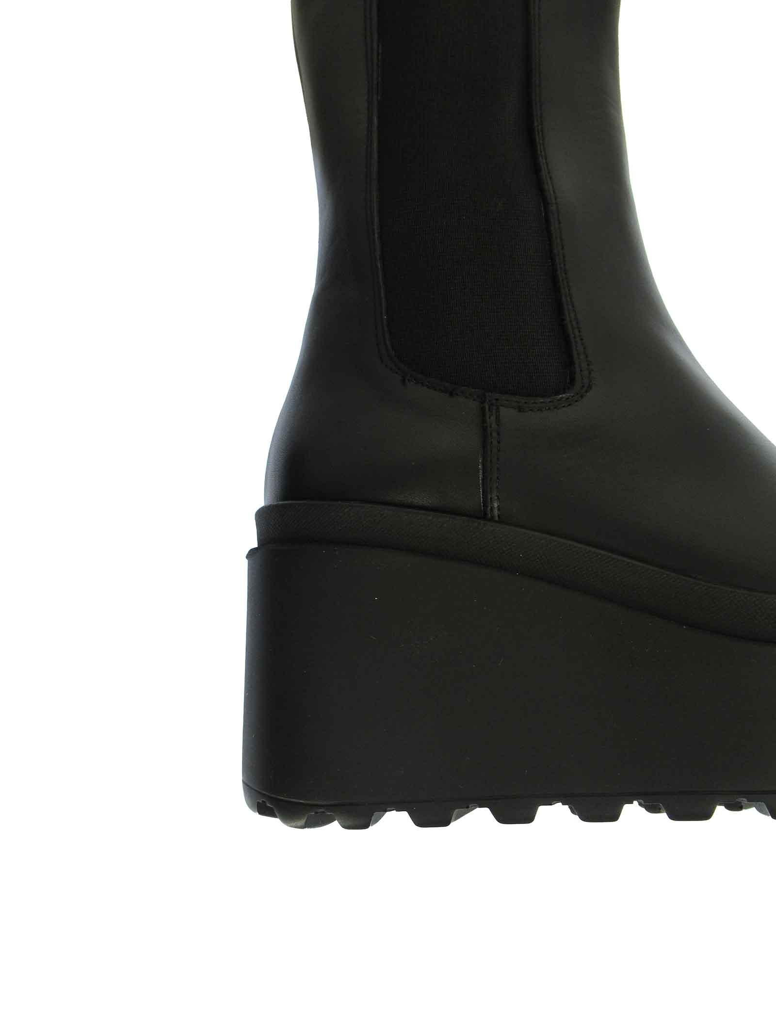 Women's Shoes Beatles in Black Leather with Matching Elastic Straps and High Wedge Sole Tattoo | Ankle Boots | JOLLY 6001