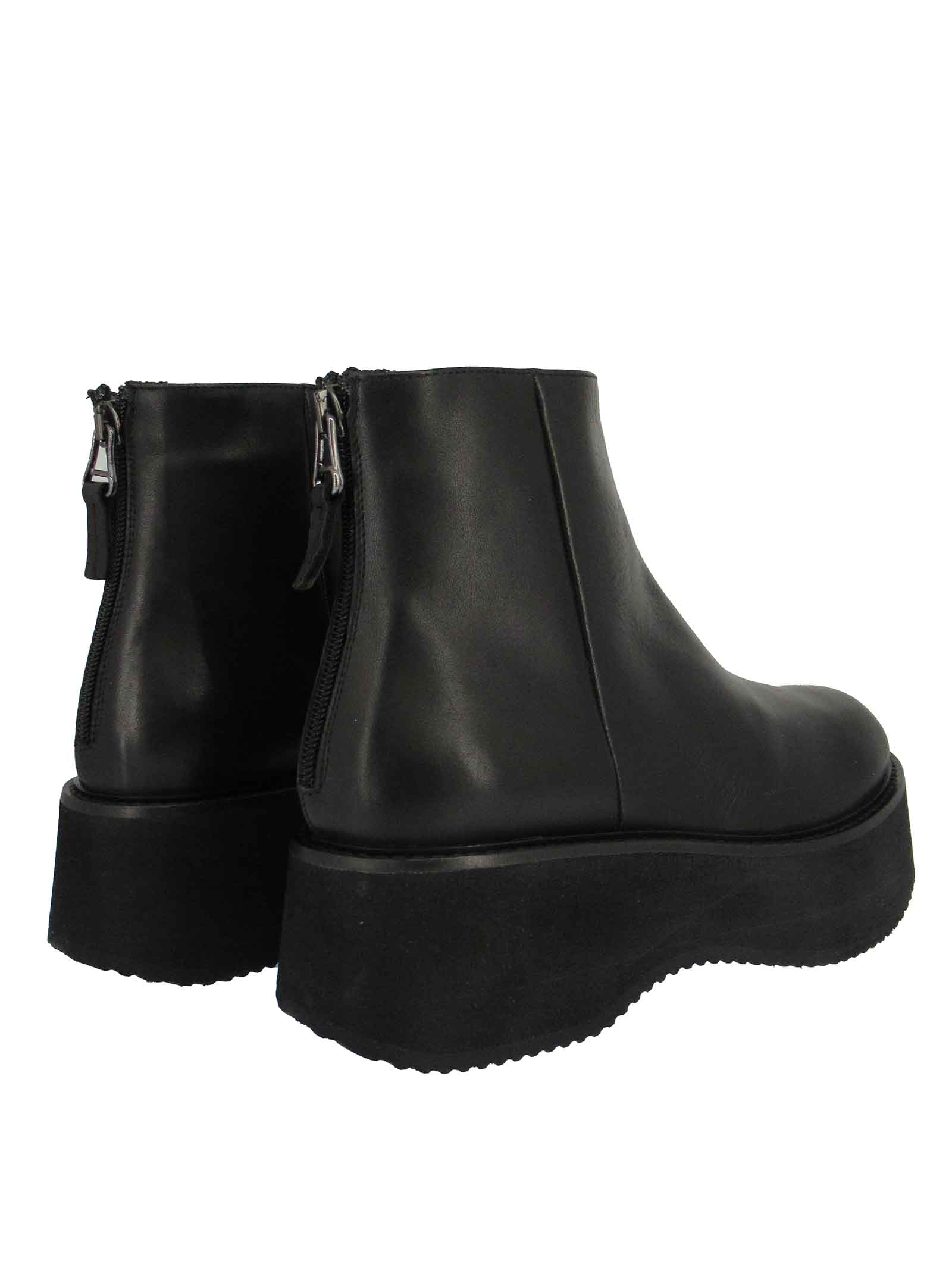 Women's Shoes Ankle Boots in Black Leather with Zip Fastening and Micro Ultra Light sole Tattoo   Ankle Boots   PAM12001