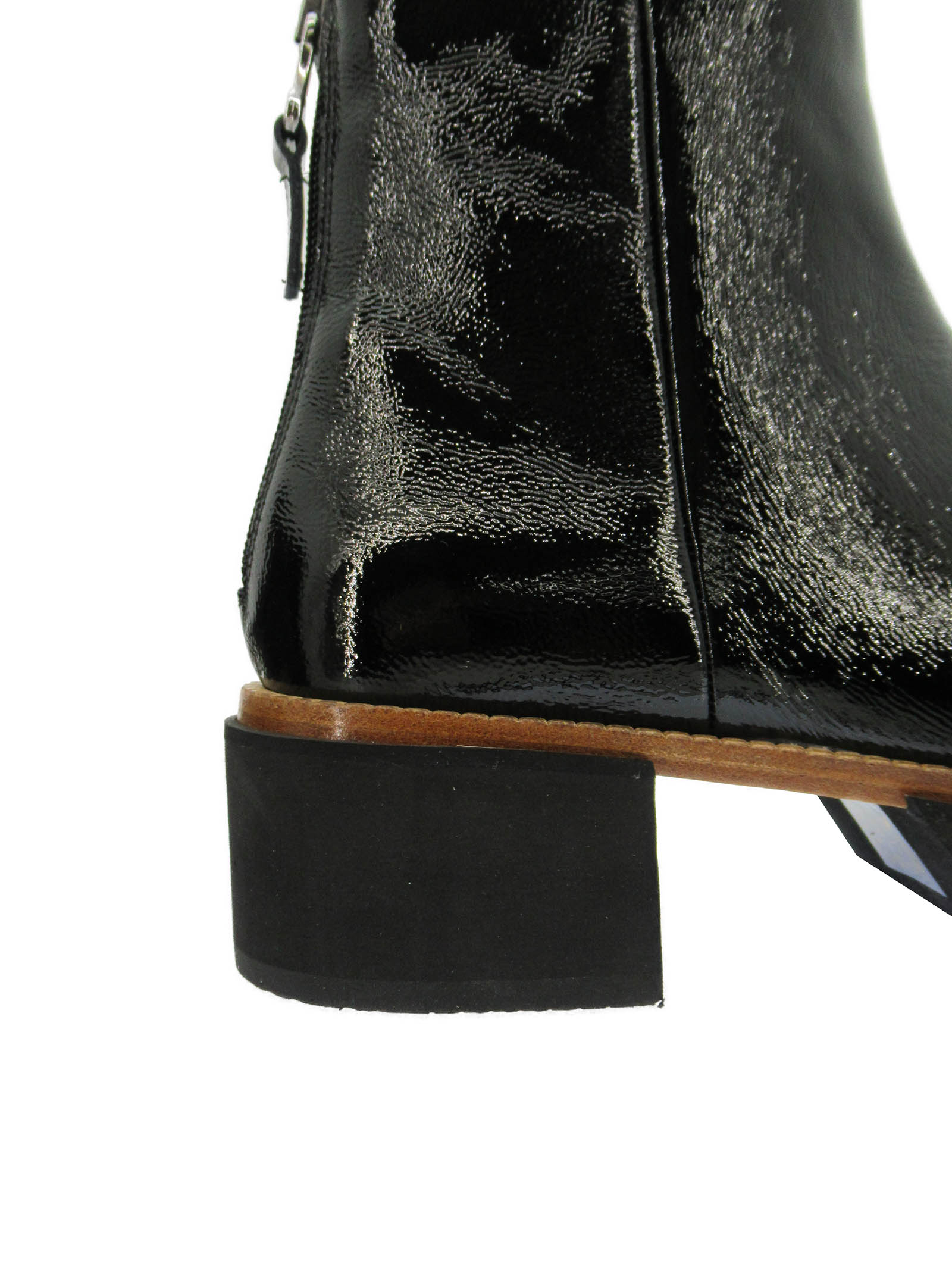 Women's Shoes Ankle Boots in Black Naplak Leather with Back Zip and Micro Ultra Light Sole Tattoo | Ankle Boots | PAM12Q001