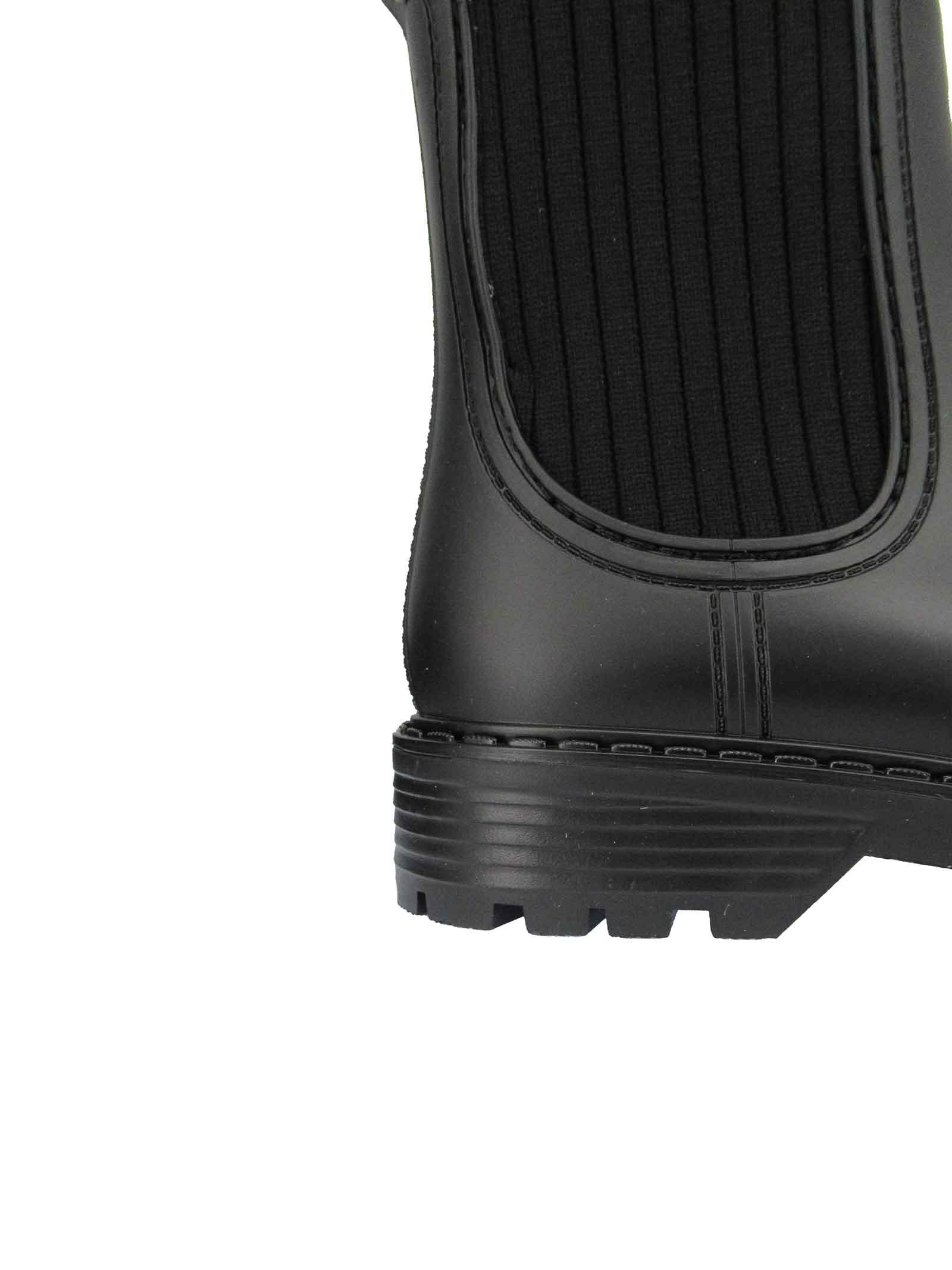 Calzature Donna Stivaletti Antipioggia in Pvc Nero con Tessuto Elasticizzato in Tinta Unisa   Stivaletti   AYNAR001