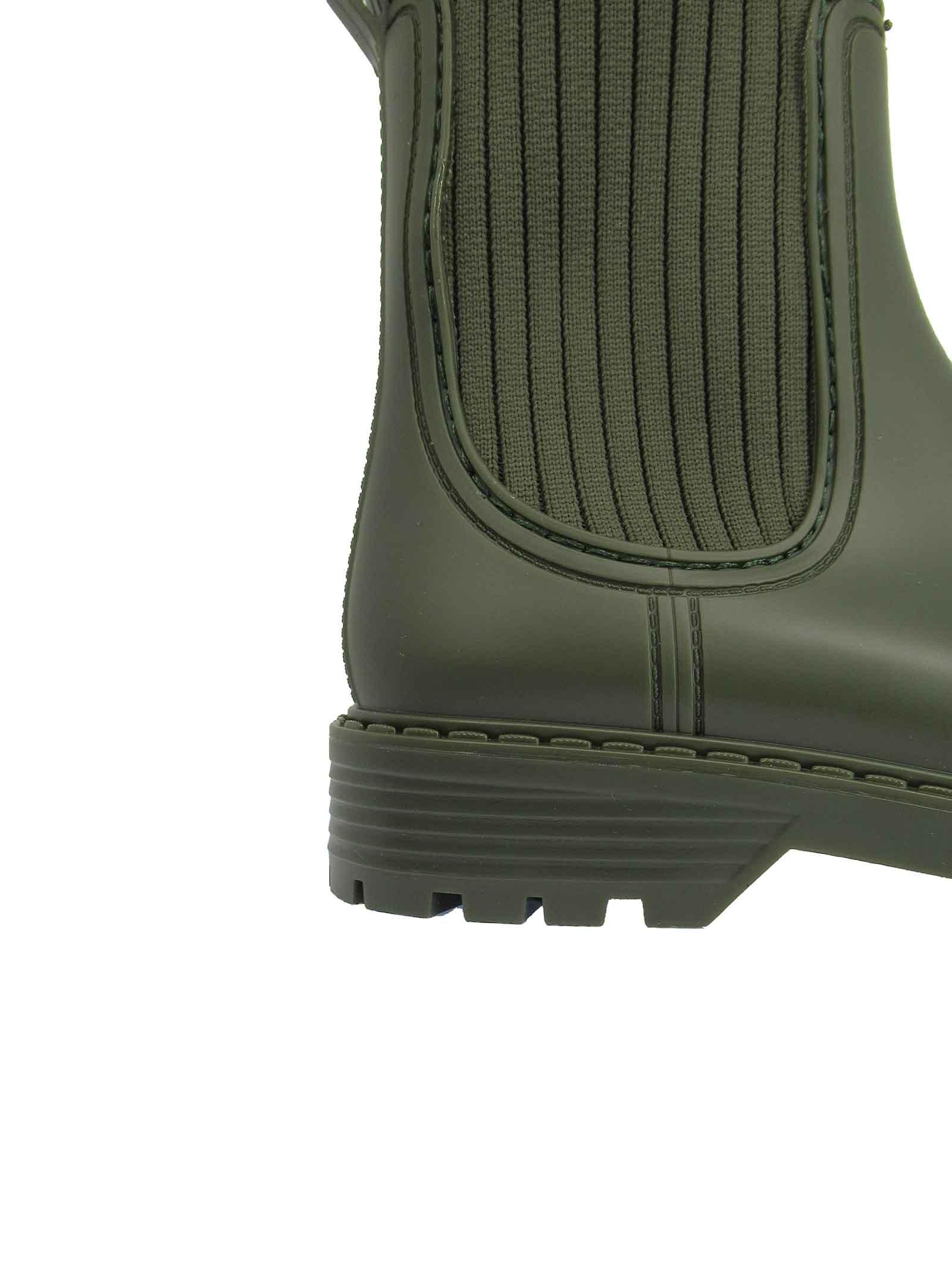 Calzature Donna Stivaletti Antipioggia in Pvc Verde con Tessuto Elasticizzato in Tinta Unisa | Stivaletti | AYNAR005
