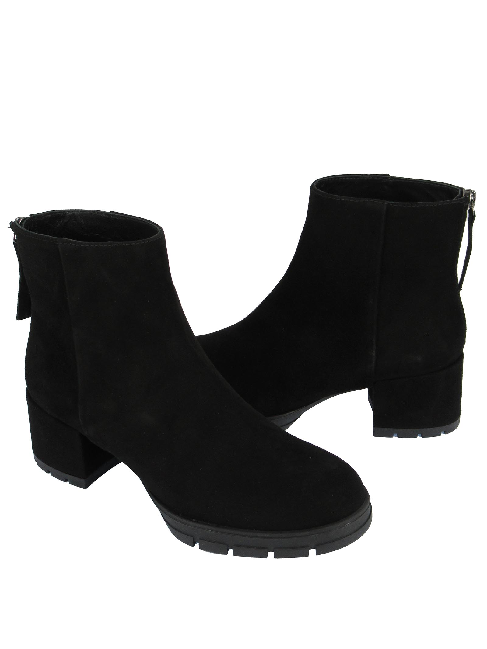 Women's Shoes Ankle Boots in Black Suede with Back Zip Suede Heel and Rubber Platform Unisa | Ankle Boots | JAICO001