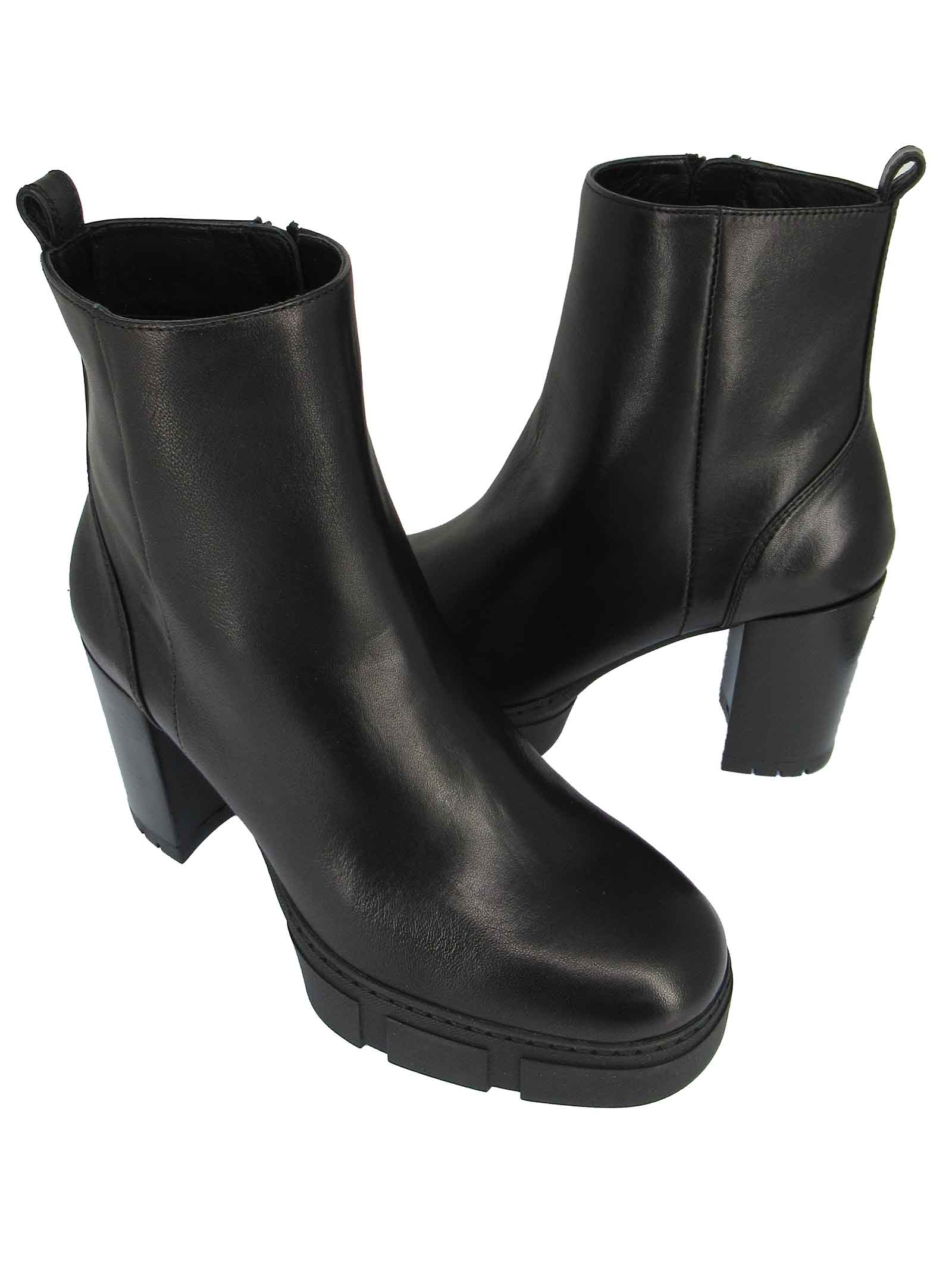 Women's Shoes Ankle Boot in Black Leather High Heel and Rubber Platform Unisa | Ankle Boots | KOPSI001