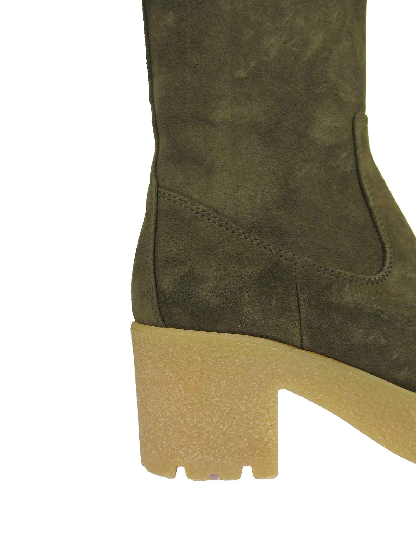 Women's Shoes Ankle Boots in Green Suede with High Para Wedge and Side Zip Fastening Unisa | Ankle Boots | KRIPTO005