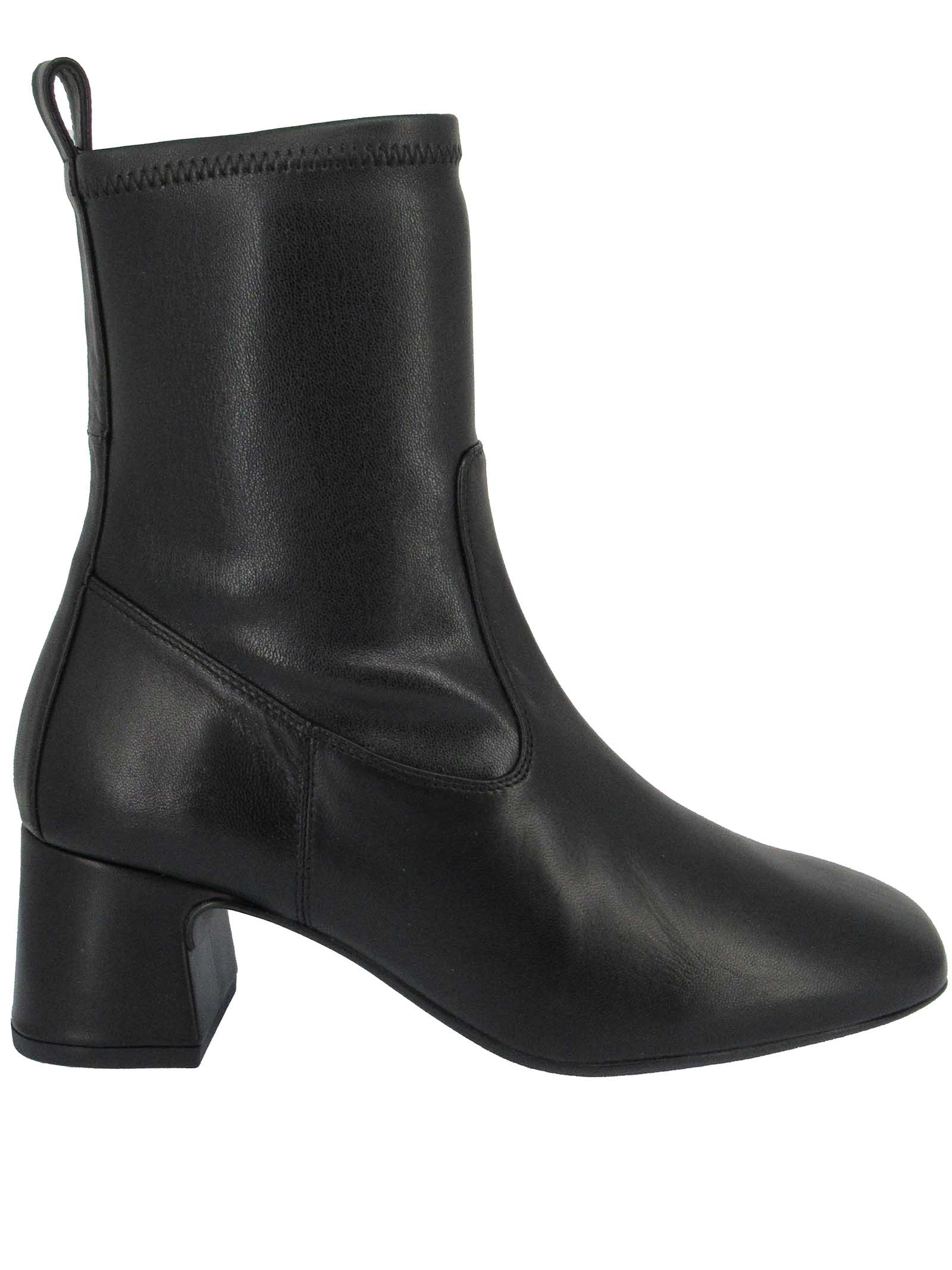 Women's Shoes Ankle Boots in Black Elasticized Eco-Leather with Heel and Square Toe Unisa   Ankle Boots   MICO001