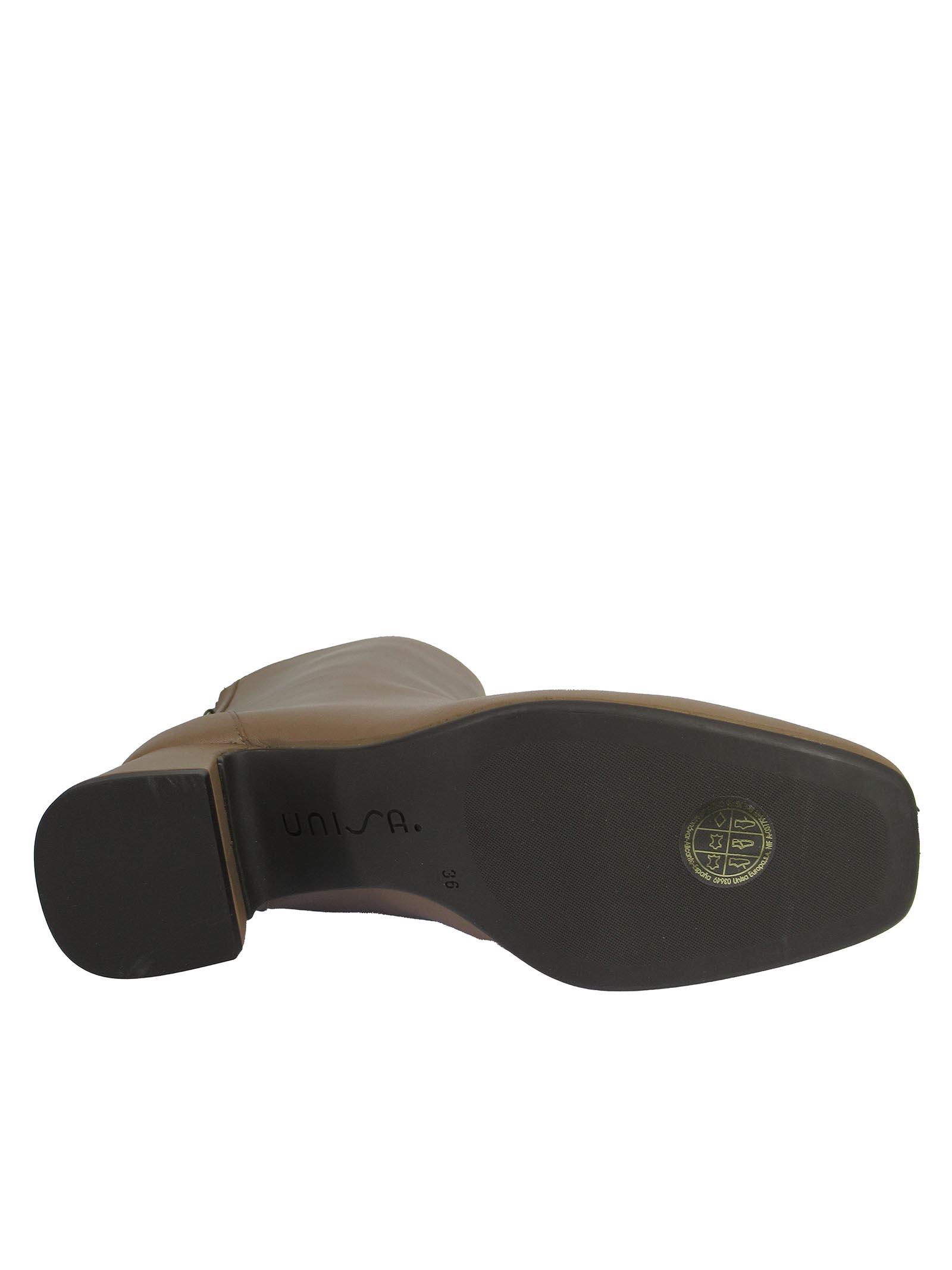 Calzature Donna Stivaletti in Pelle Taupe con Zip Posteriore Tacco in Pelle e Punta Quadra Unisa | Stivaletti | MONCADA023