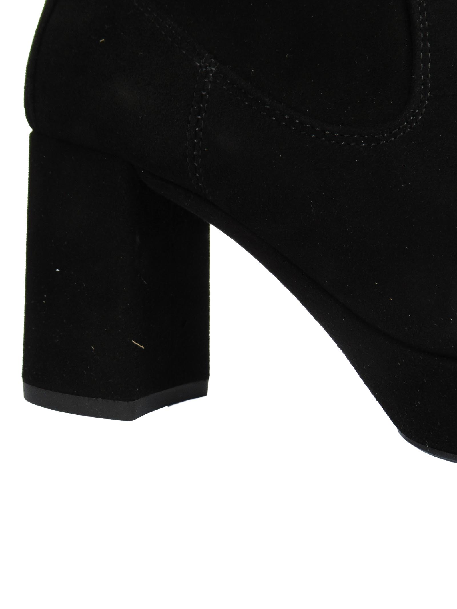Women's Shoes Ankle Boots in Black Suede with High Heel and Matching Plateau Unisa | Ankle Boots | MUNSETA001