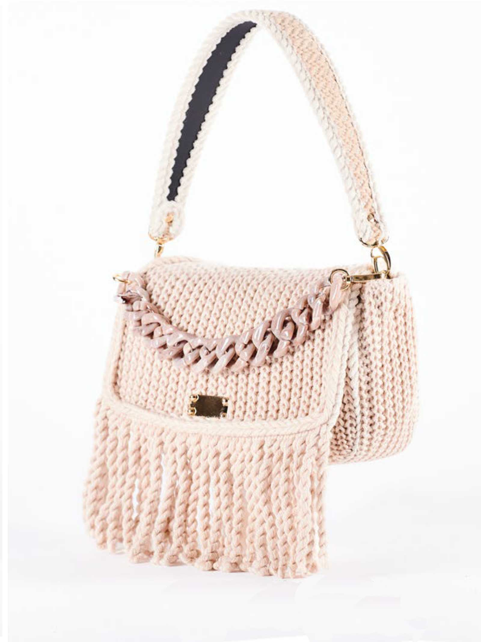Women's Small Clutch Shoulder Bag Cozy in Cream Wool With Shoulder Strap and Matching Resin Chain Via Mail Bag | Bags and backpacks | AMYB01