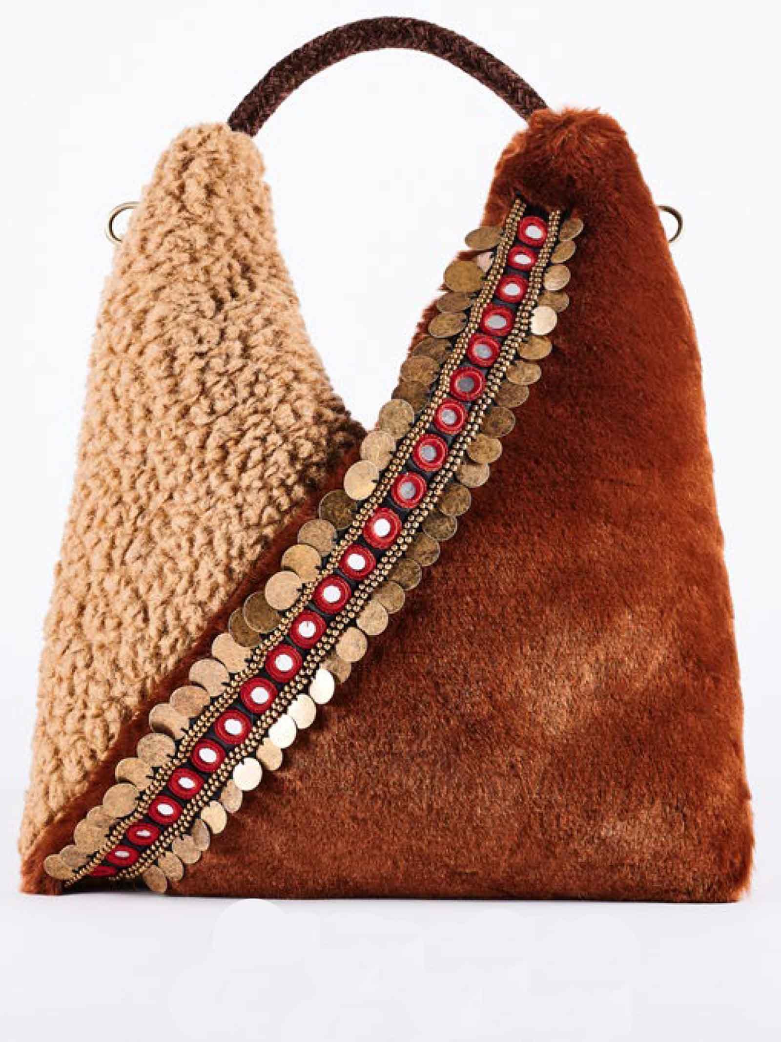 Borsa Donna Shopper Megeve Fur in Pellicca e Montone Ecologico Marrone e Cammello con Manico in Pelle Via Mail Bag | Borse e zaini | MEGEVEF03