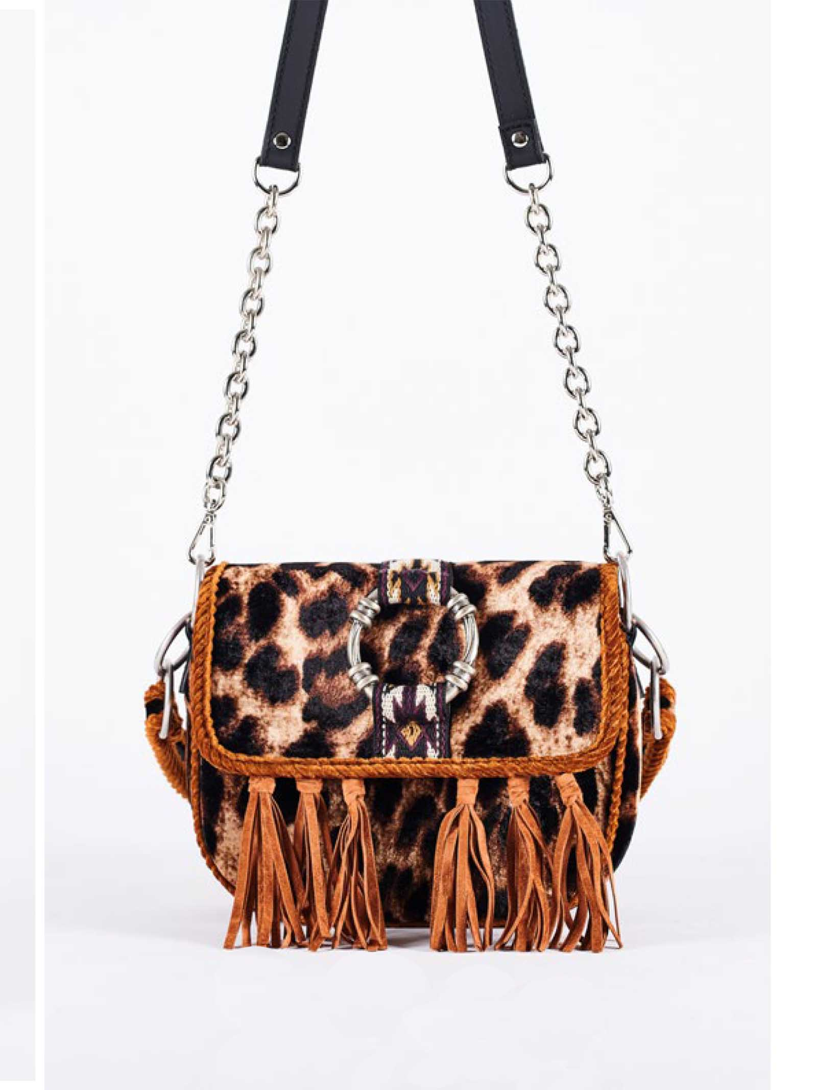 Women's Shoulder Clutch Bag Patty Leo in Leopard Animalier Silk Velvet And Shoulder Strap with Chain Via Mail Bag | Bags and backpacks | PATTYLEO