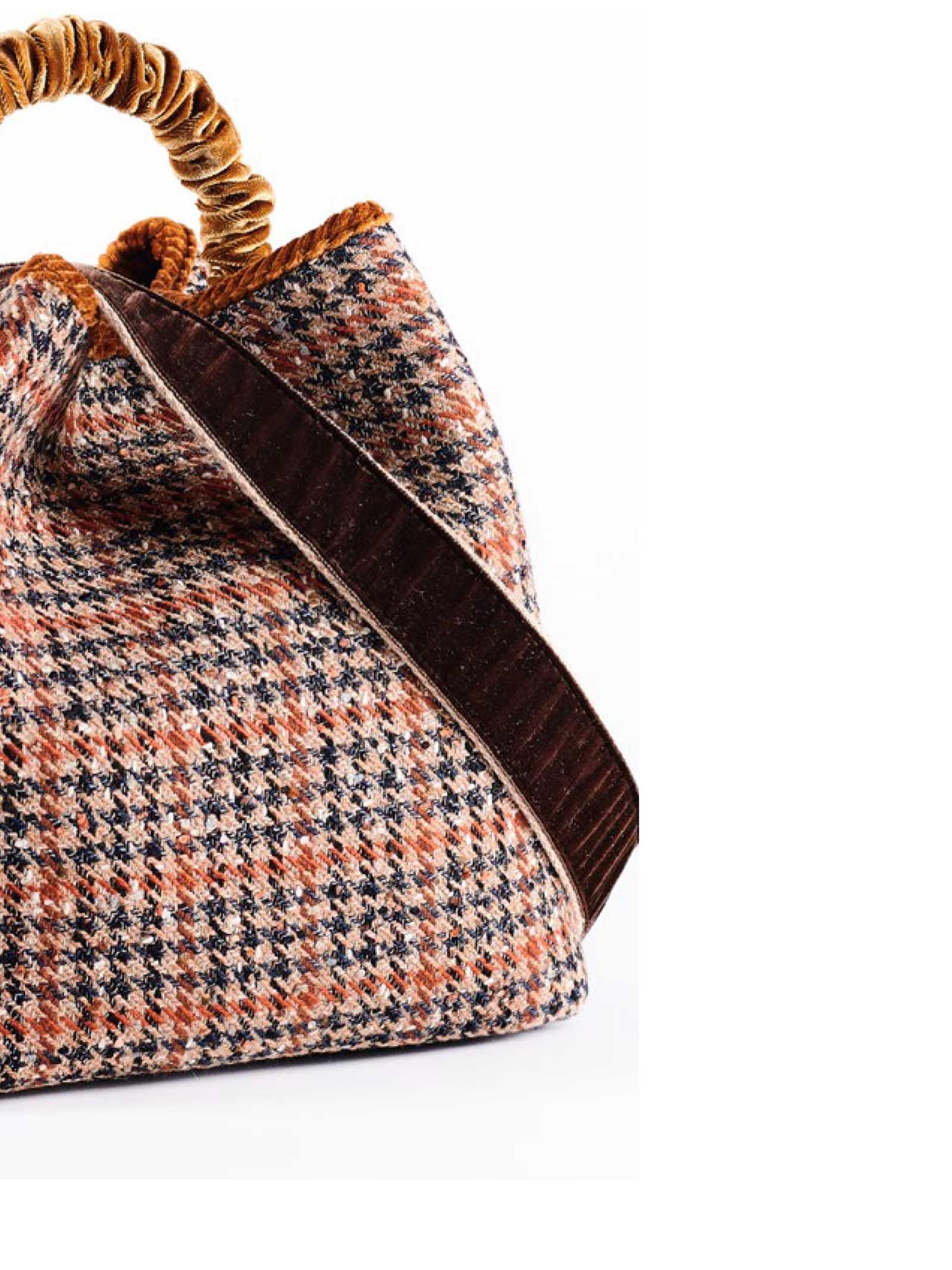 Women's Bucket Bag Zermat Check in Wool Jacquard Check Velvet Handle and Fancy Shoulder Strap Via Mail Bag | Bags and backpacks | ZERMATC01