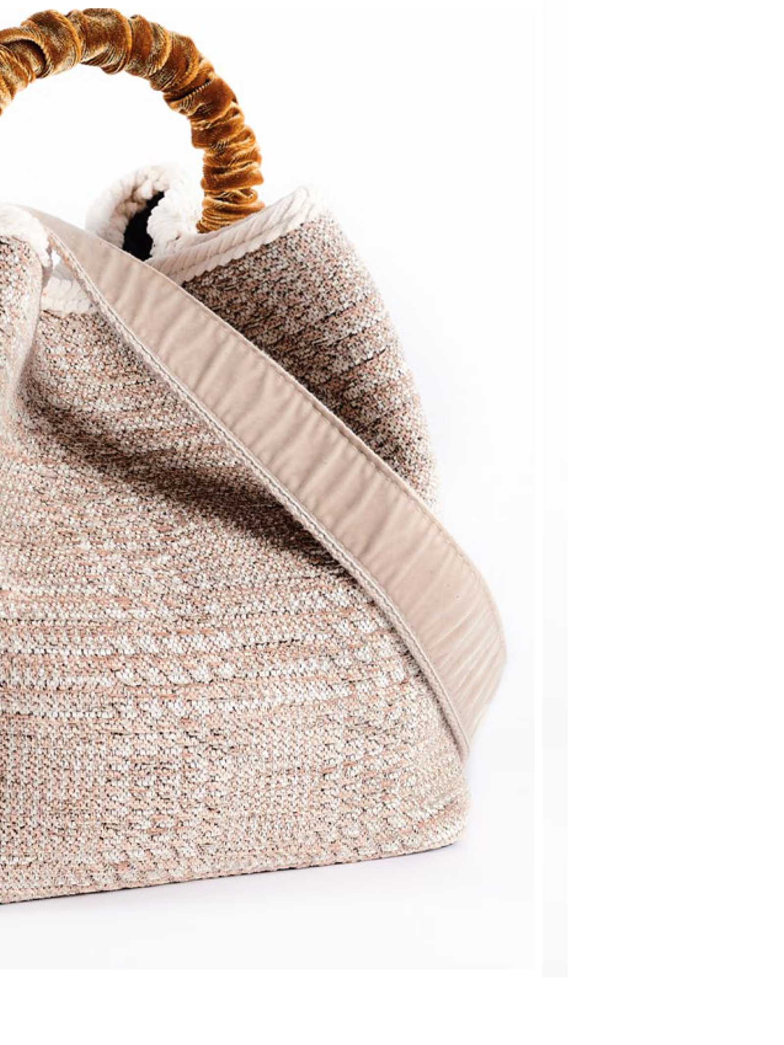 Women's Bucket Bag Zermat Madras in Beige Jacquard Chenille with Velvet Handle and Fancy Shoulder Strap Via Mail Bag | Bags and backpacks | ZERMATM02