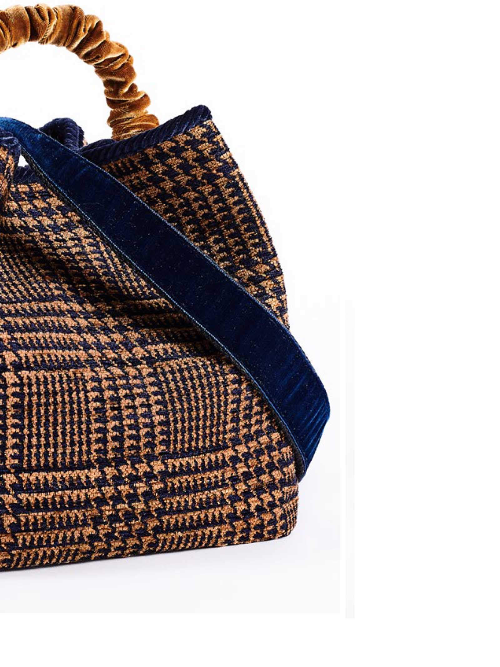 Women's Bucket Bag Zermat Madras in Jacquard Chenille with Velvet Handle and Fancy Shoulder Strap Via Mail Bag | Bags and backpacks | ZERMATM03