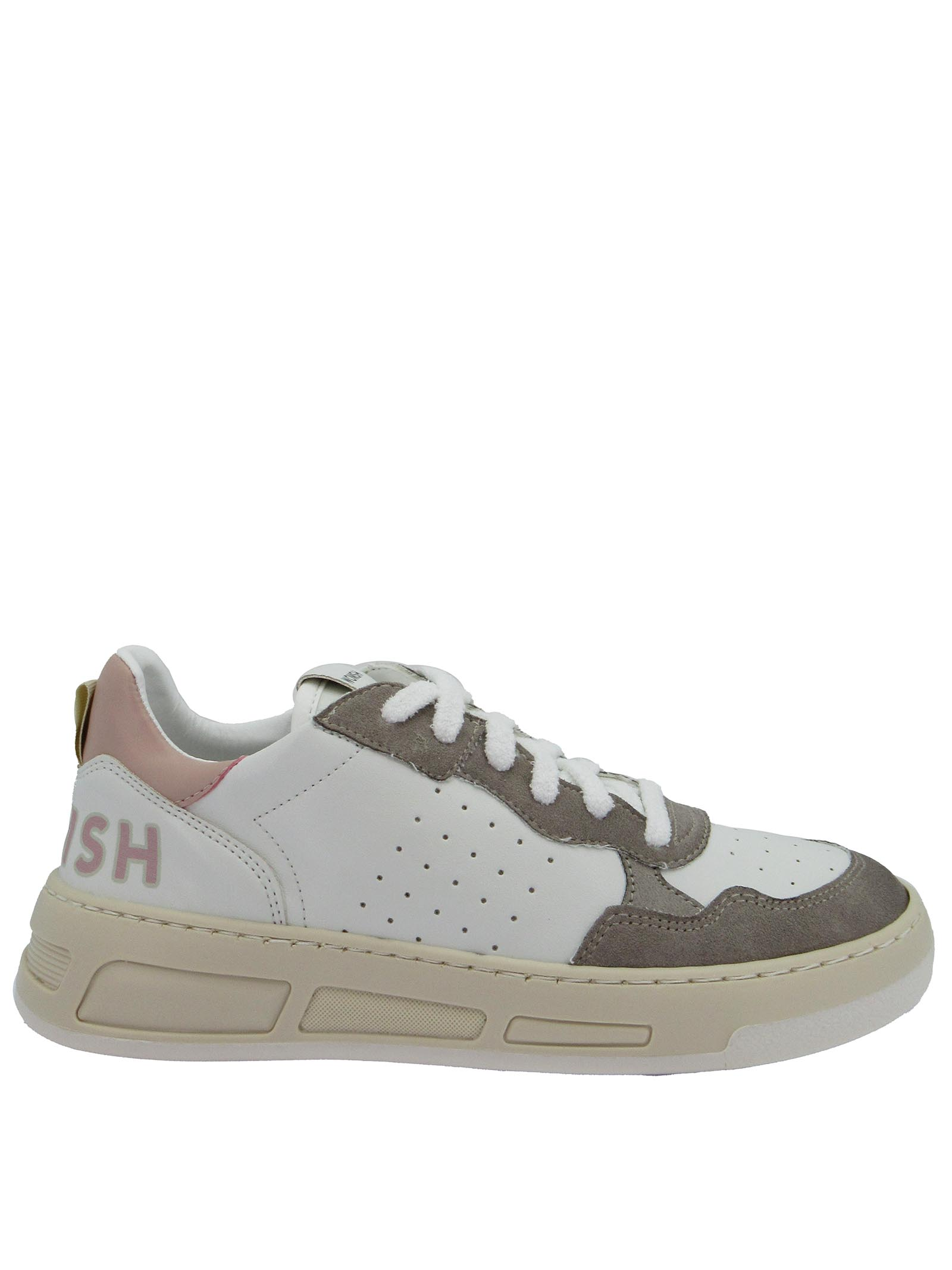 Women's Sneakers Laced Hyper in White Leather and Mud Suede Honey Rubber Sole Womsh | Sneakers | HYPER003