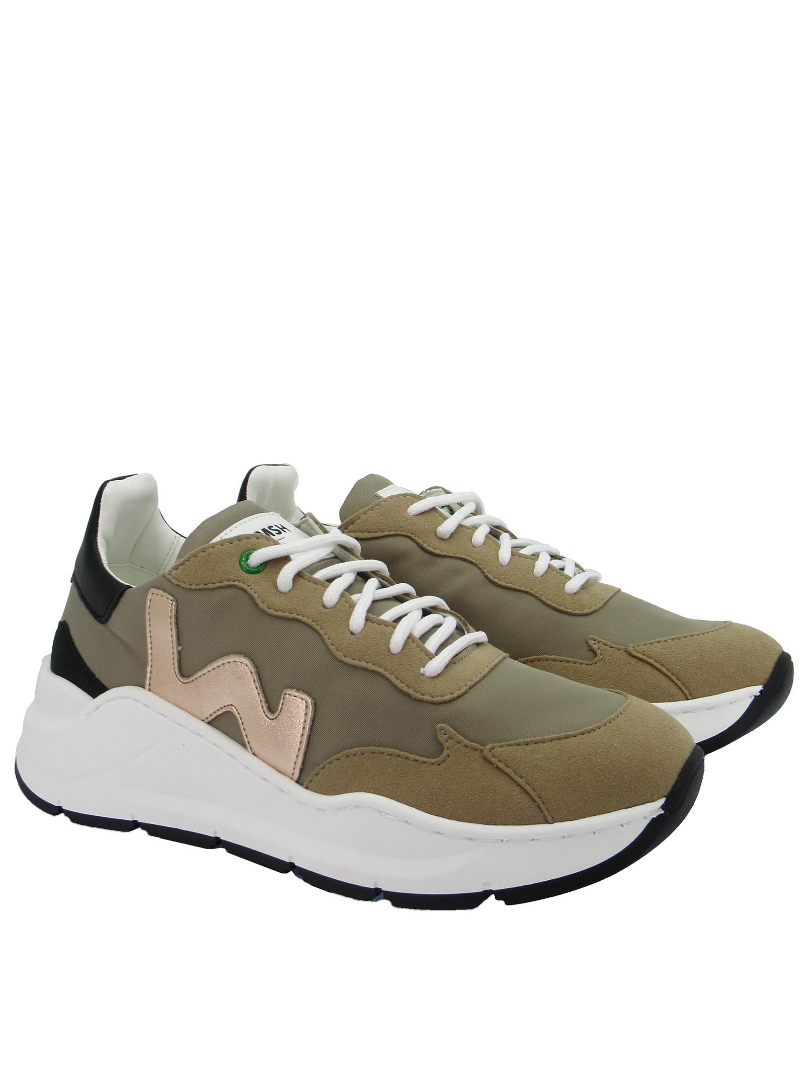 Calzature Donna Sneakers Stringate Vegan Wave in Nylon Beige Fondo Zeppa in Gomma Bianca Womsh   Sneakers   VEGAN WAVE004