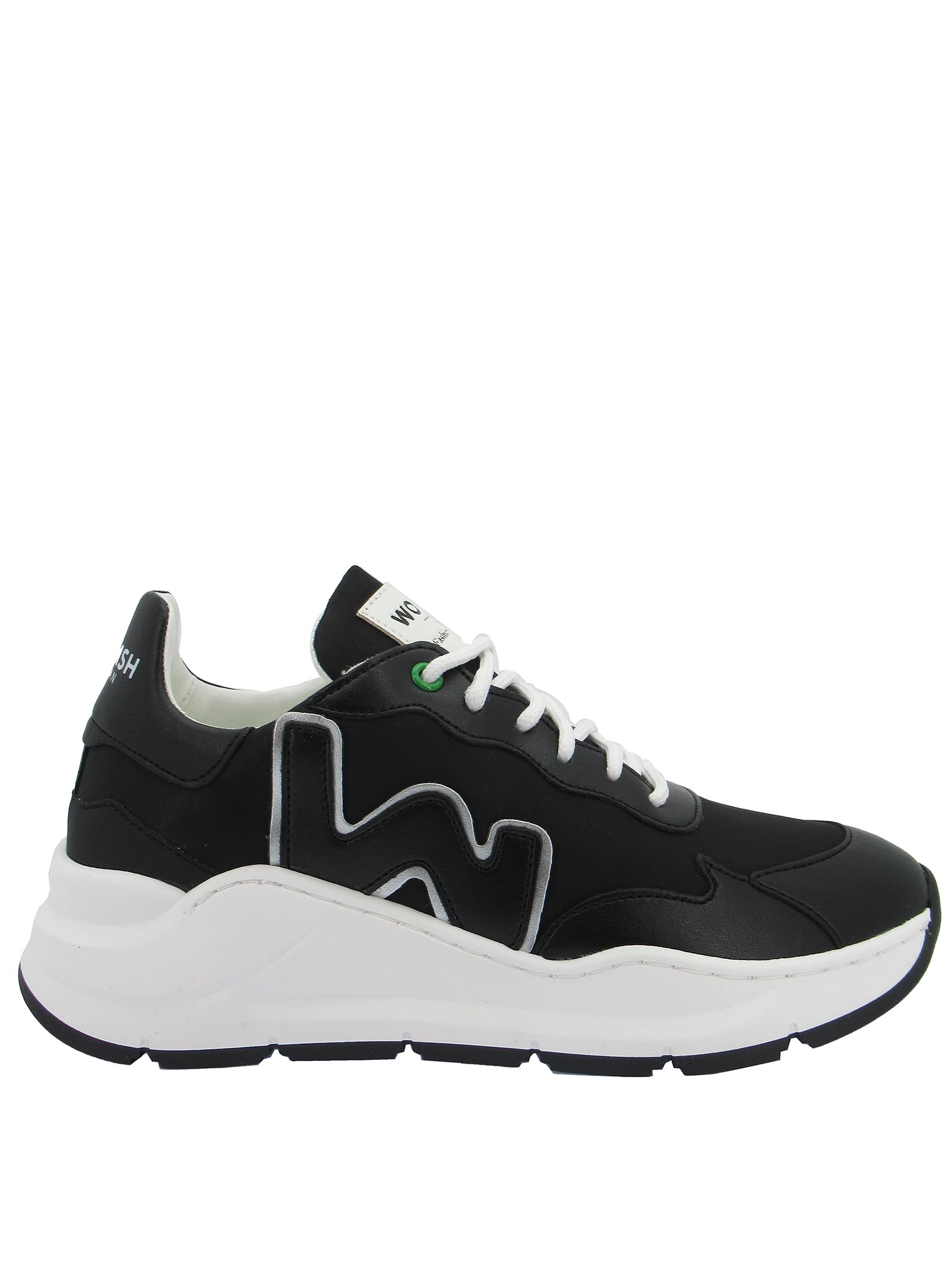 Calzature Donna Sneakers Stringate Vegan Wave in Nylon Nero Fondo Zeppa in Gomma Bianca Womsh   Sneakers   VEGAN WAVEWA005