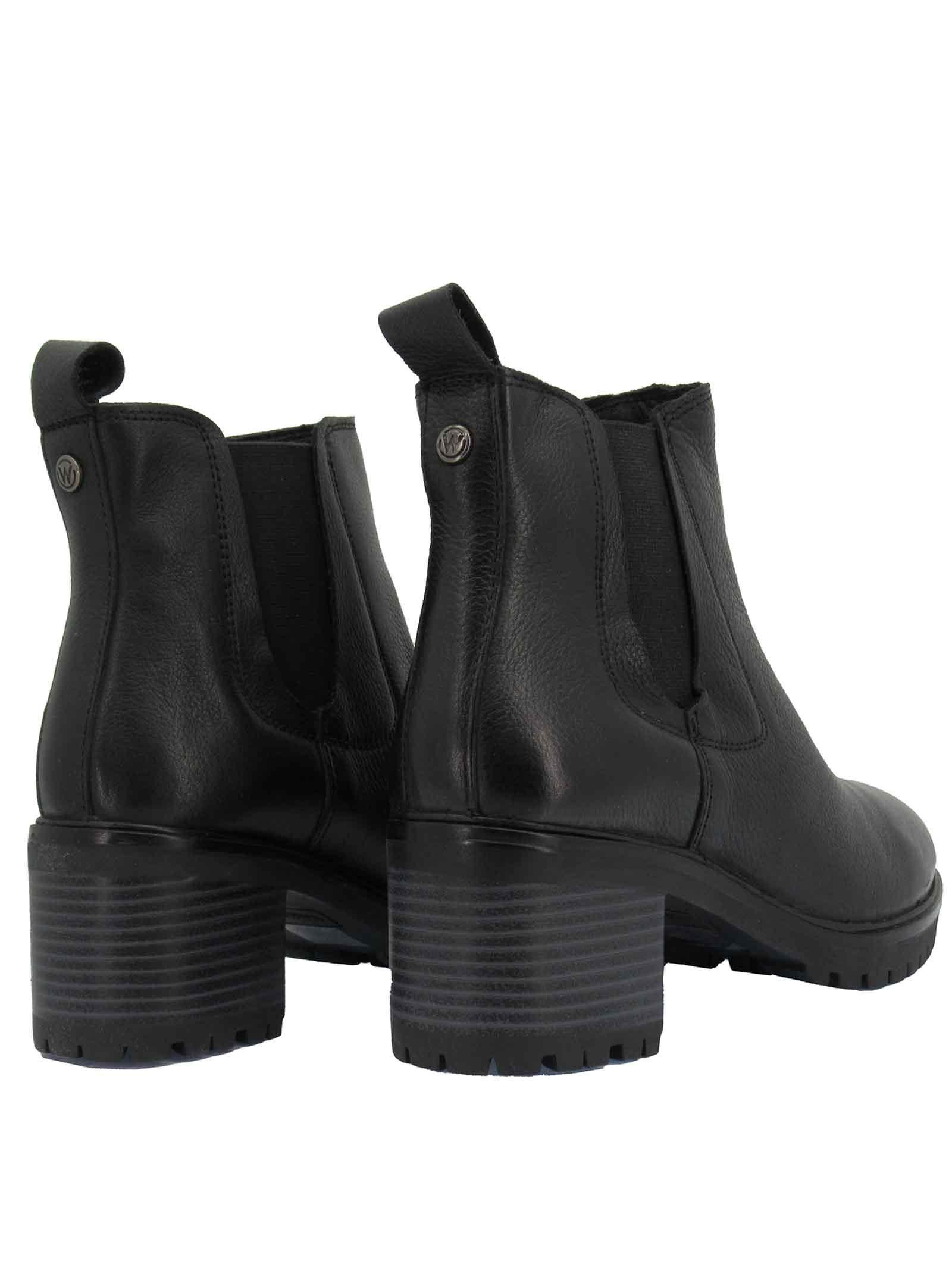 Women's Shoes Ankle Boots Beatles Sierra Chelsea in Black Leather with Medium Heel and Rubber Sole Tank Wrangler | Ankle Boots | WL12513A062