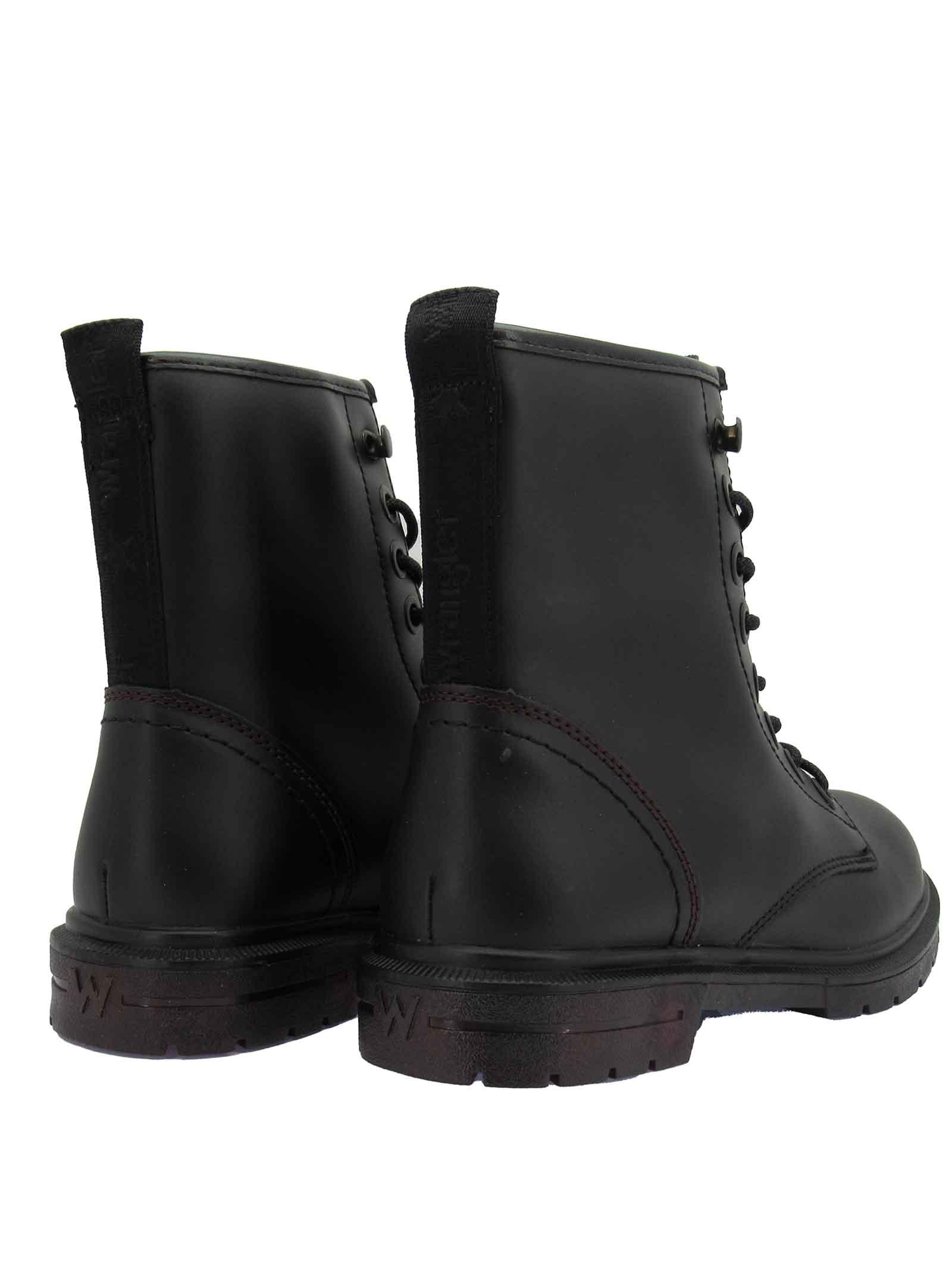 Calzature Donna Stivaletti Anfibi Combat Boot Spike Mid in Pelle Nera Opaca con Fondo in Gomma Carrarmato Wrangler | Stivaletti | WL12560A062