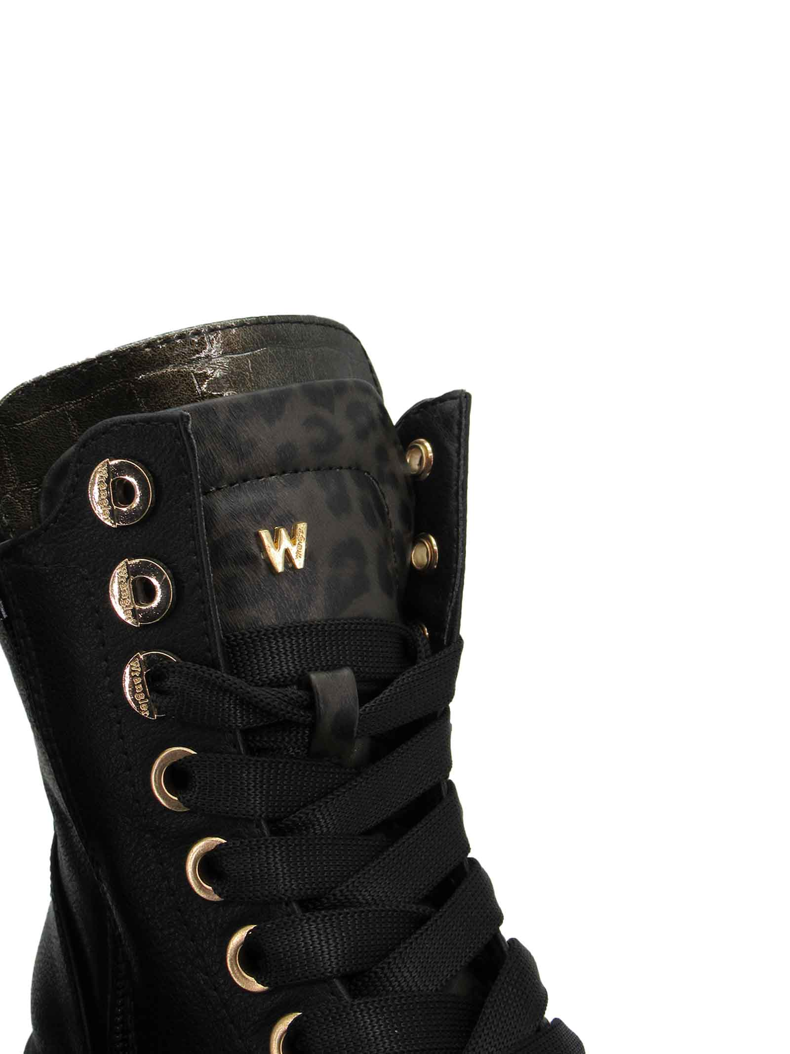 Women's Shoes Ankle Boots Combat Boot Courtney Safari Lace in Eco-Leather Black and Animal Print with Rubber Sole Tank Wrangler | Ankle Boots | WL12611A866