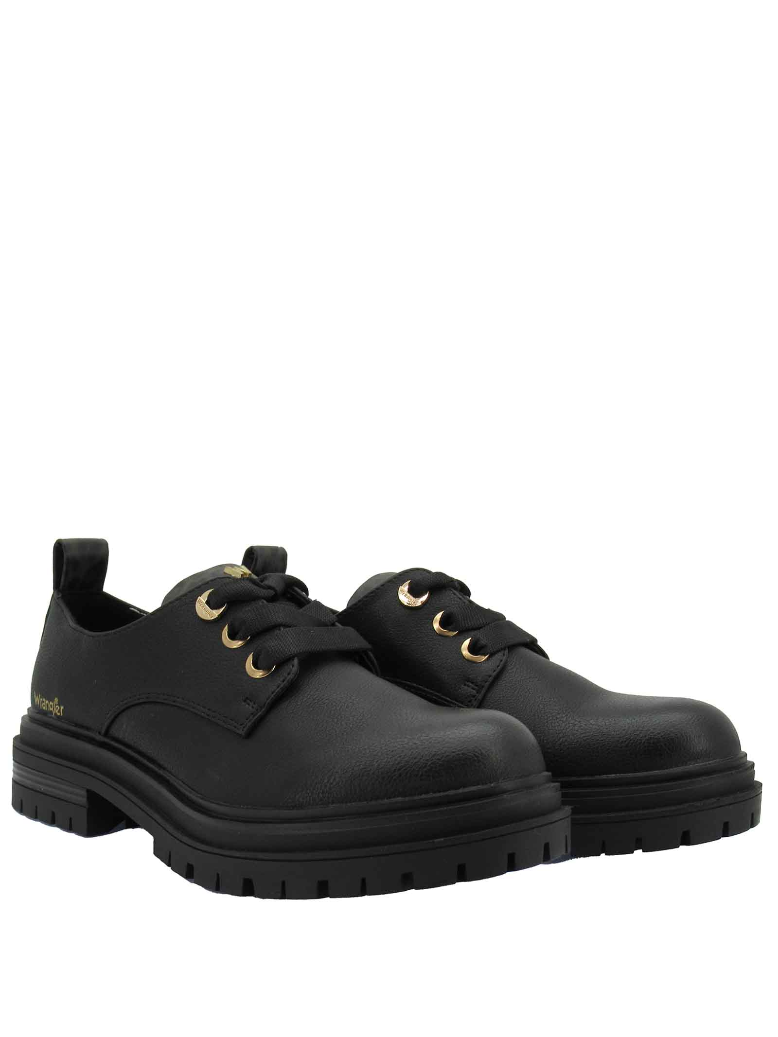 Women's Laced Shoes Courtney Safari Derby in Eco-leather Black with Animal Print and Rubber Sole Tank Wrangler | Lace up shoes | WL12618A866