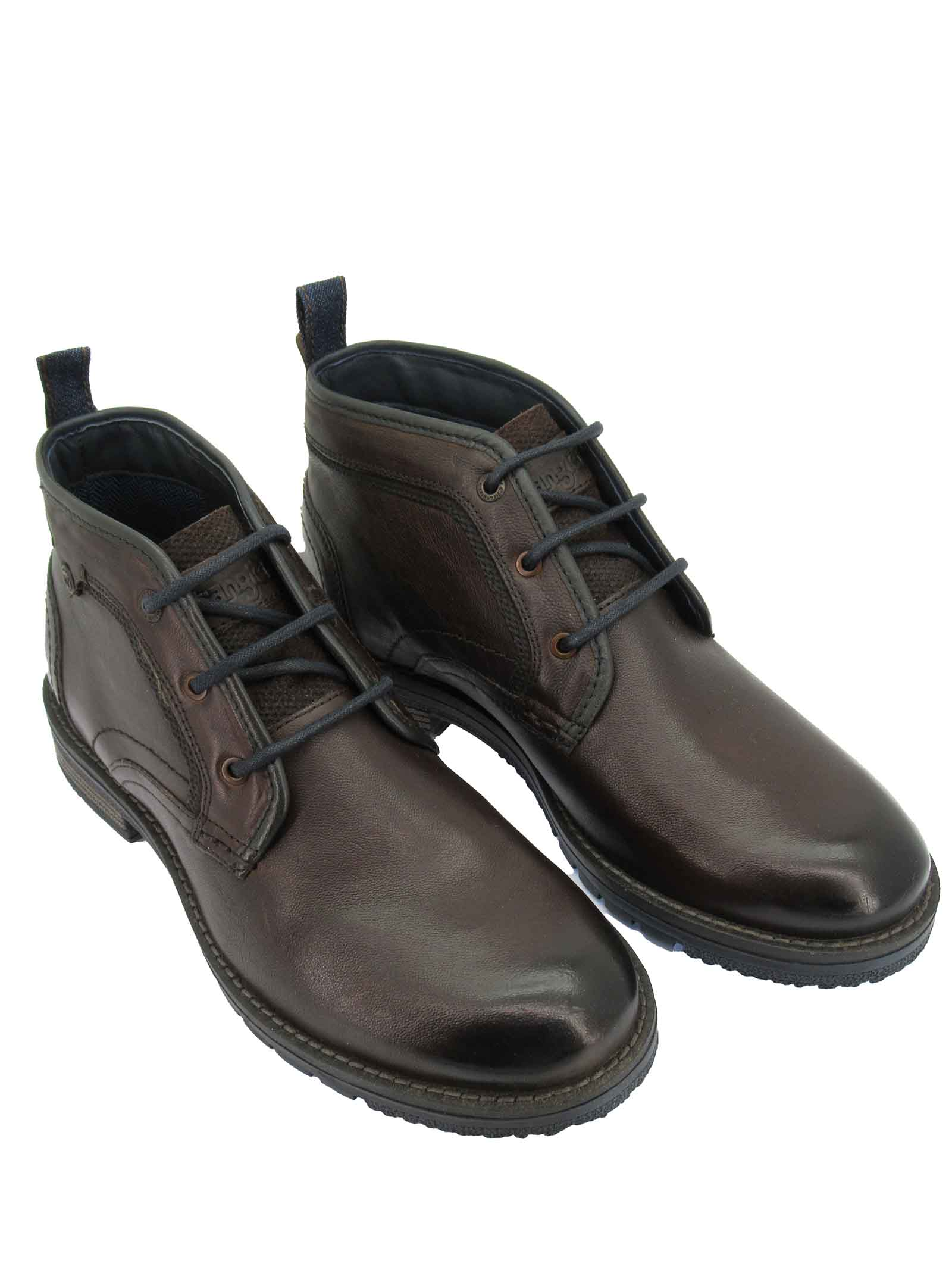 Men's Shoes Boogie Chukka Laced Ankle Boots in Brown Leather with Rubber Sole Wrangler | Ankle Boots | WM12050A030