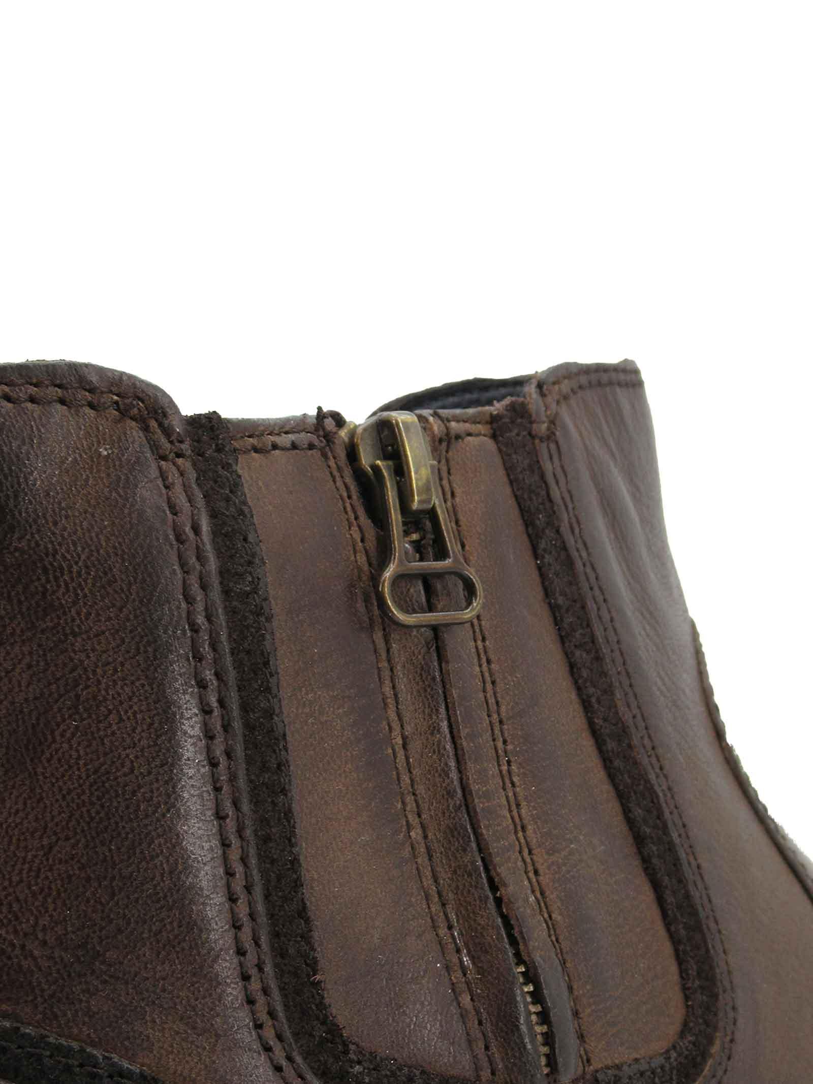 Calzature Uomo Stivaletti Boogie Zip in Pelle Marrone Con zip Laterale e Fondo in Gomma Wrangler   Stivaletti   WM12052A030
