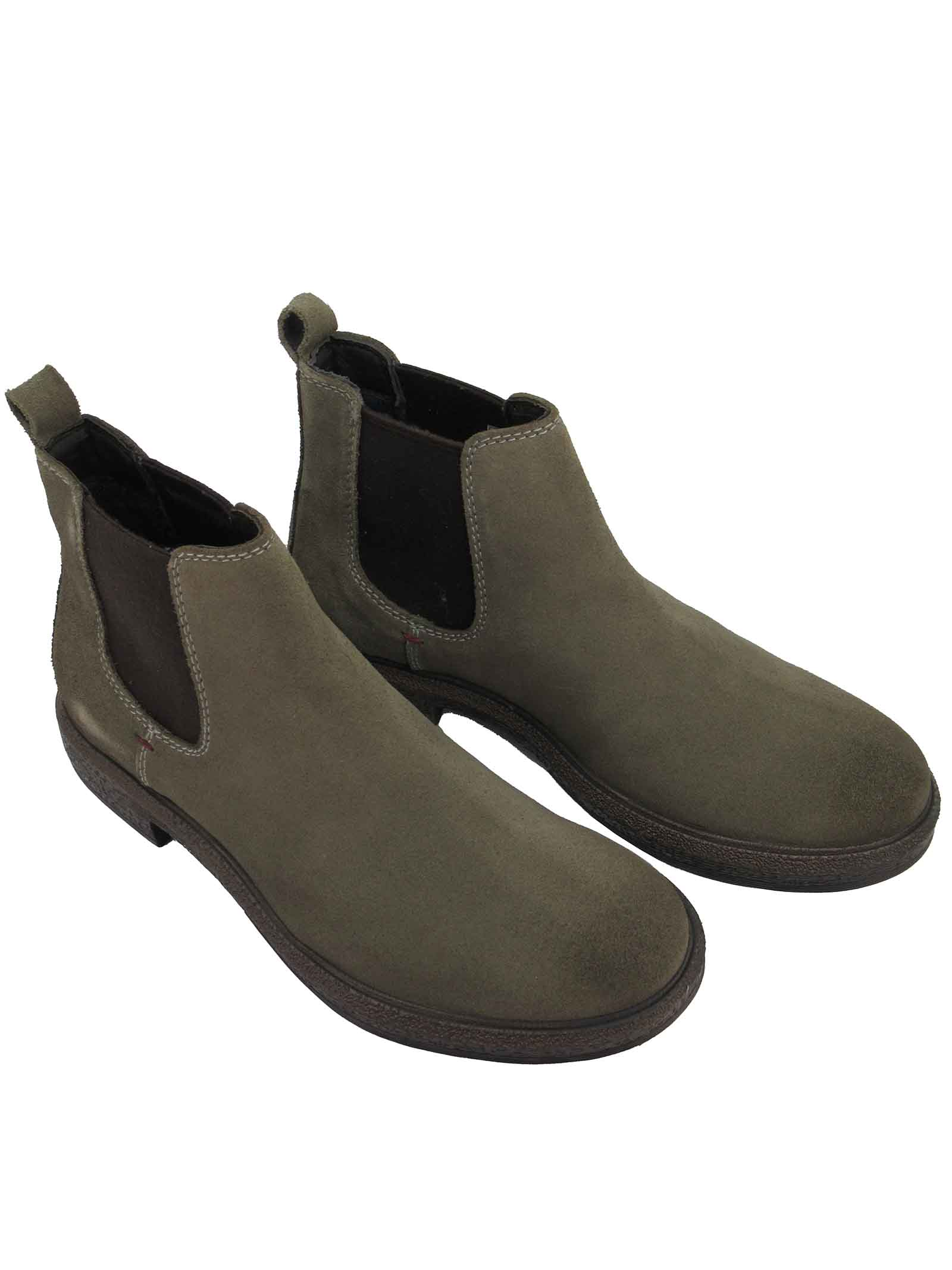 Men's Ankle Boots Custom Chelsea Beatles in Taupe Suede with Rubber Sole Wrangler | Ankle Boots | WM12081A029