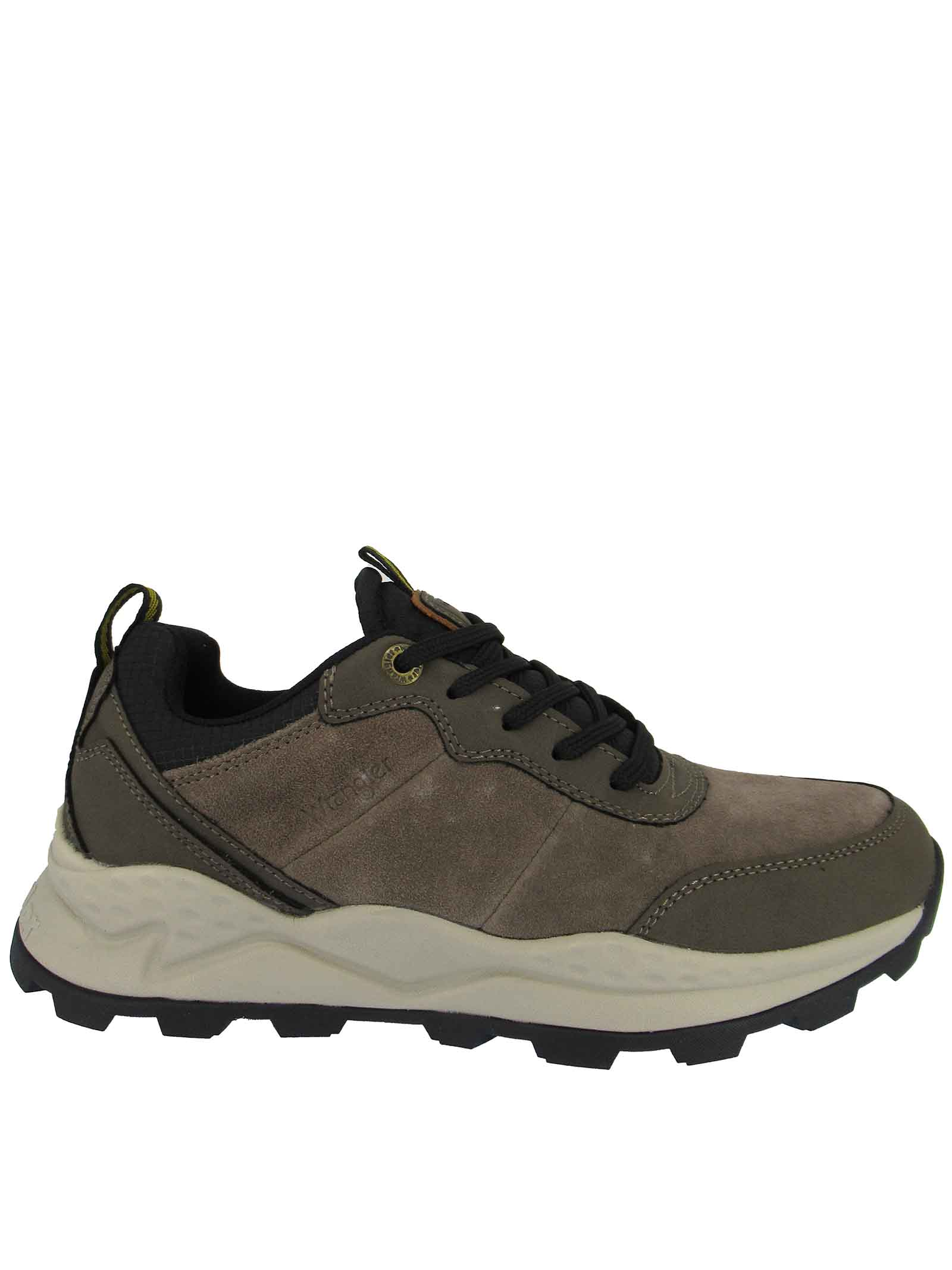 Men's Shoes Lace-up Boots Crossy Mid in Taupe Leather and Suede with Trekking Sole Wrangler | Lace up shoes | WM12104A029