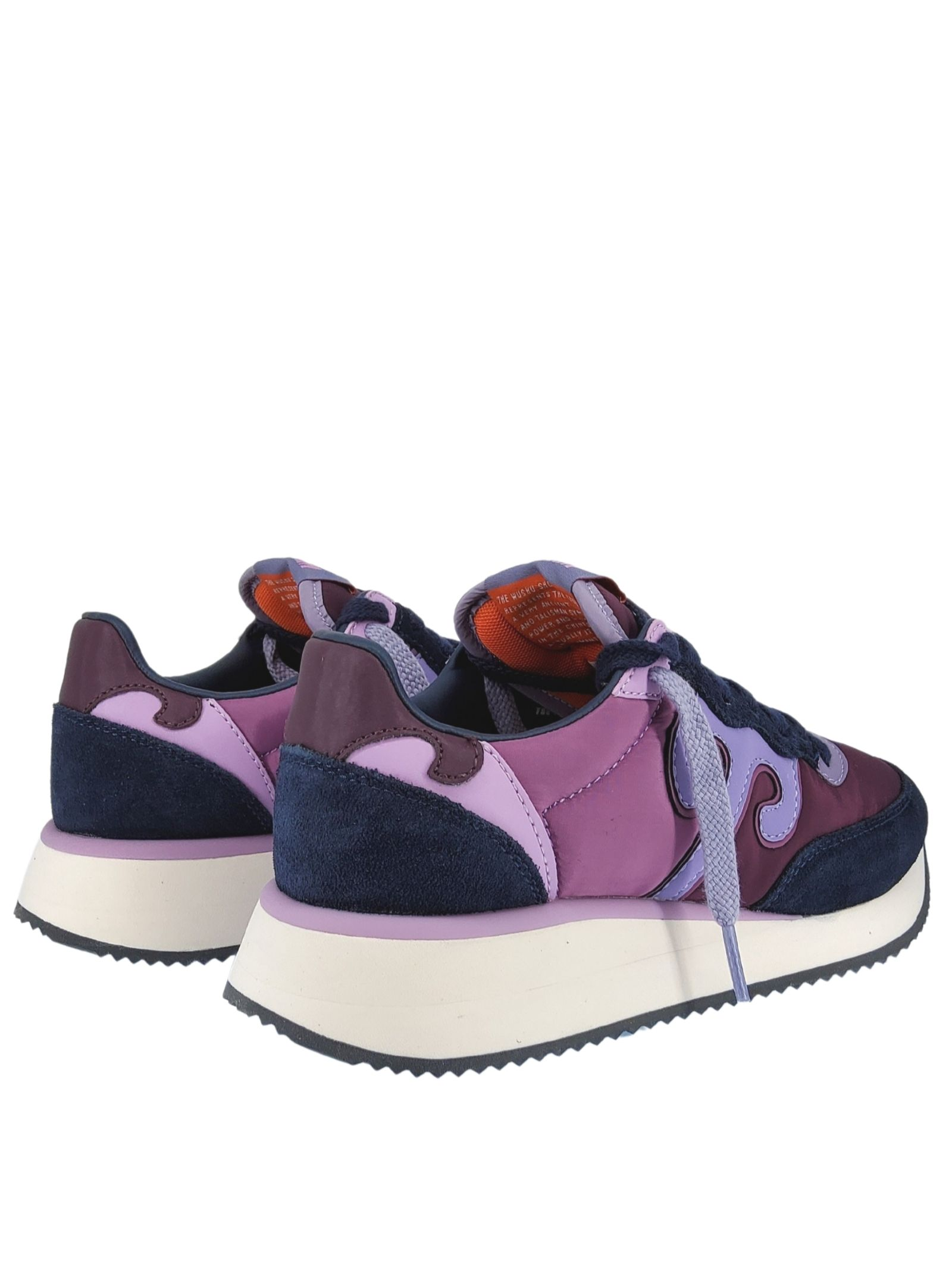Women's Shoes Sneakers Master in Purple Leather and Wisteria Fabric with White Rubber High Bottom Wushu | Sneakers | 000215M215