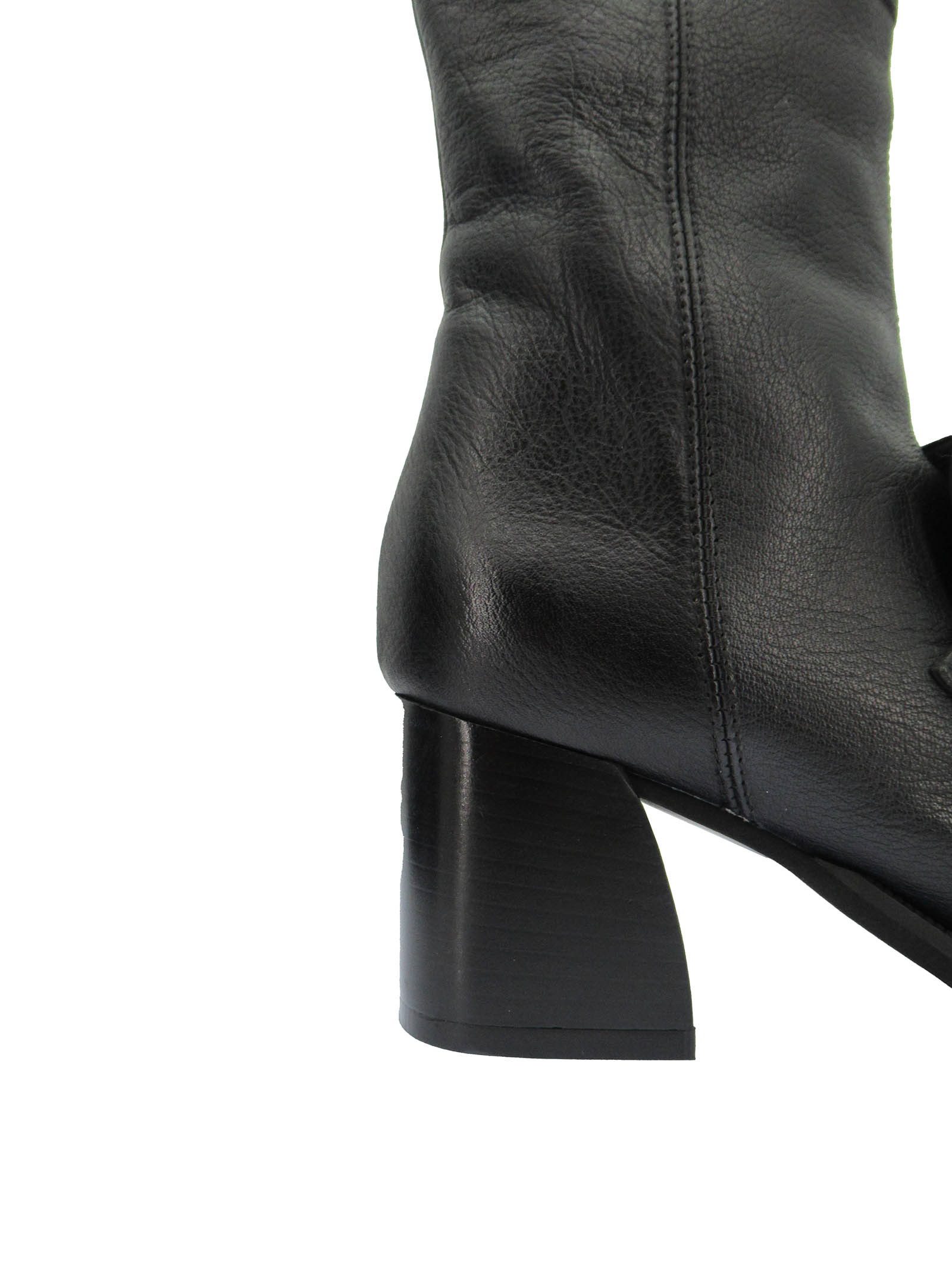 Women's Shoes Ankle Boots in Black Leather with Strap and Accessory and Leather Heel Zoe   Ankle Boots   LEEDS03001