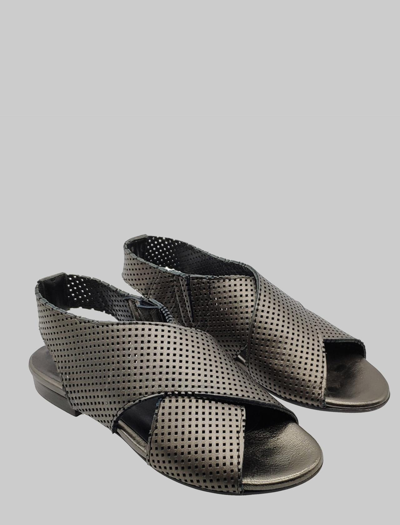 Calzature Donna Sandali Bassi in Pelle Forata e Laminata Canna di Fucile con Cinturino Elastico Posteriore Zoe   Sandali Flat   DUFFY062