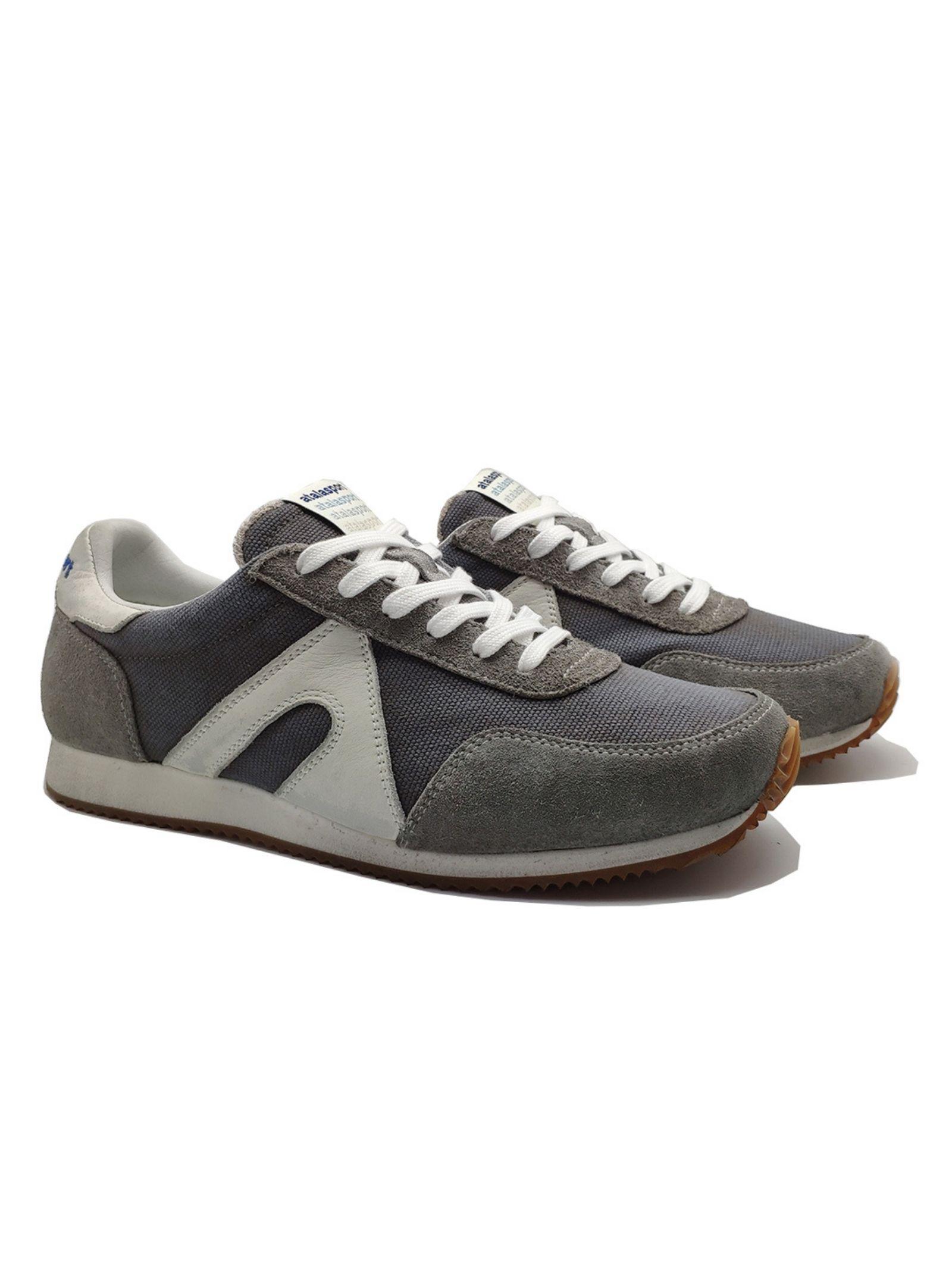 Calzature Uomo Sneakers Stringate in Tessuto Tecnico e Camoscio Grigio con Fondo Running Bianco Atala   Sneakers   10010GRIGIO