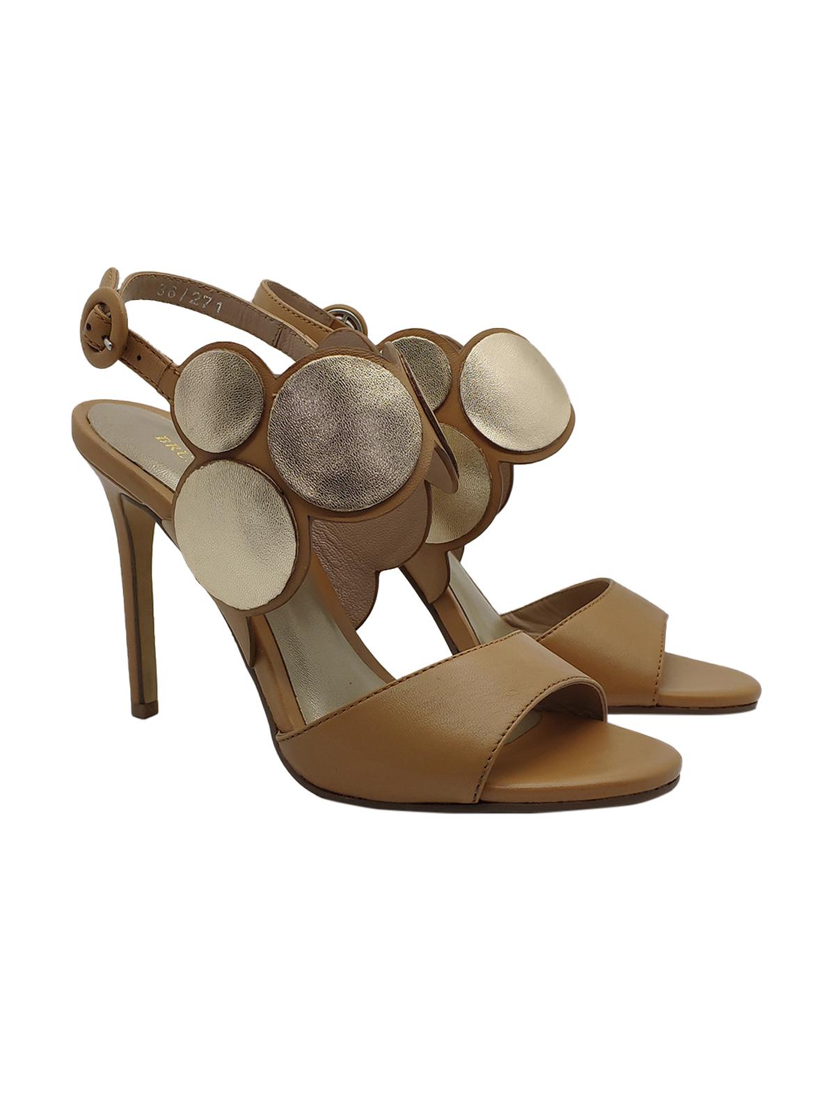 Calzature Donna Sandali in Pelle Cuoio con Accessori in Pelle Laminata e Tacco Alto Bruno Premi | Sandali | BZ4201XCUOIO