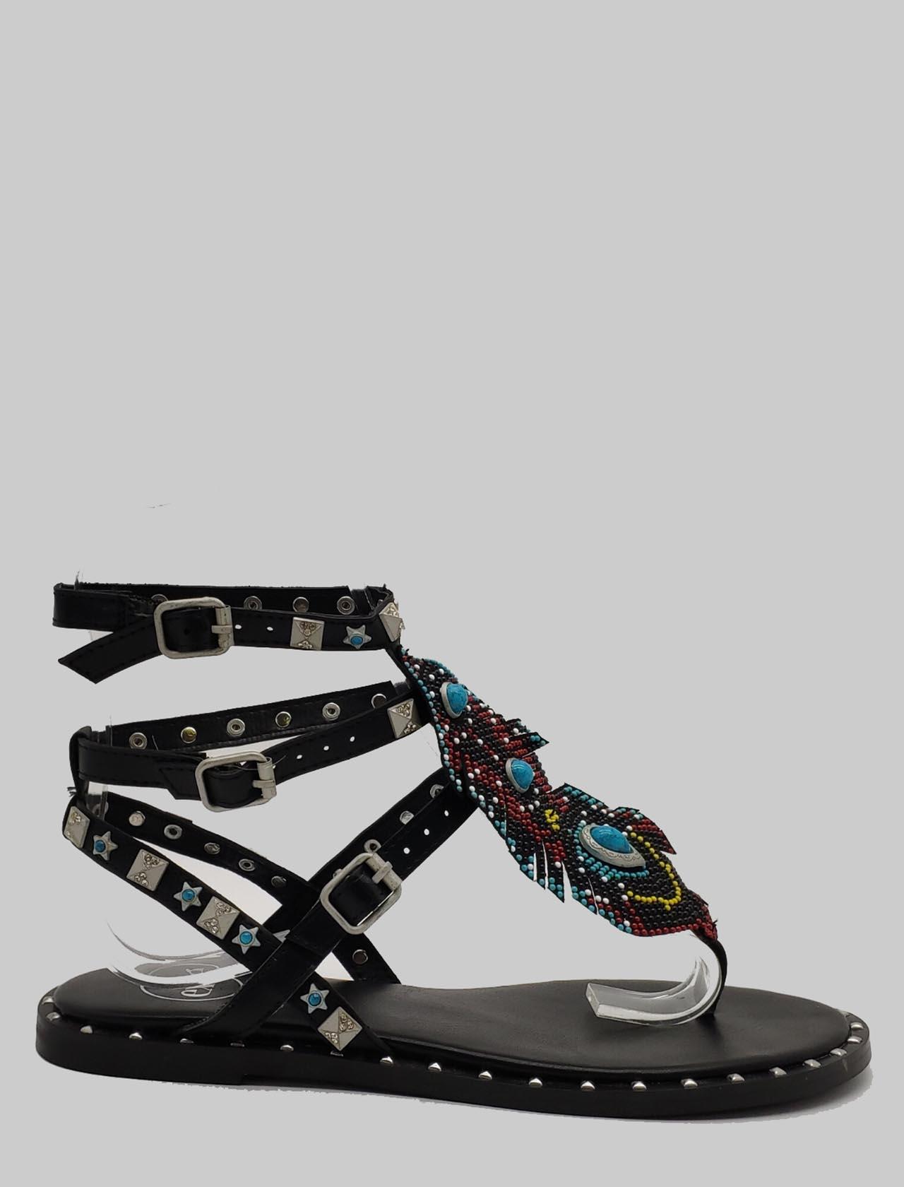 Calzature Donna Sandali Bassi in Pelle Nera con Borchie e Doppio Cinturino alla Caviglia Exe | Sandali Flat | 951NERO