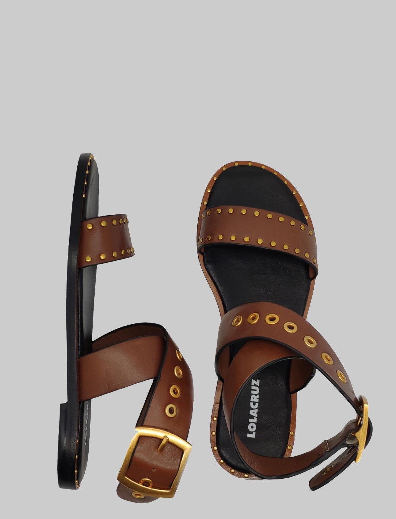 Calzature Donna Sandali Bassi in Pelle Moro con Borchie e Cinturino alla Caviglia Lola Cruz | Sandali Flat | 122Z10BKCUOIO