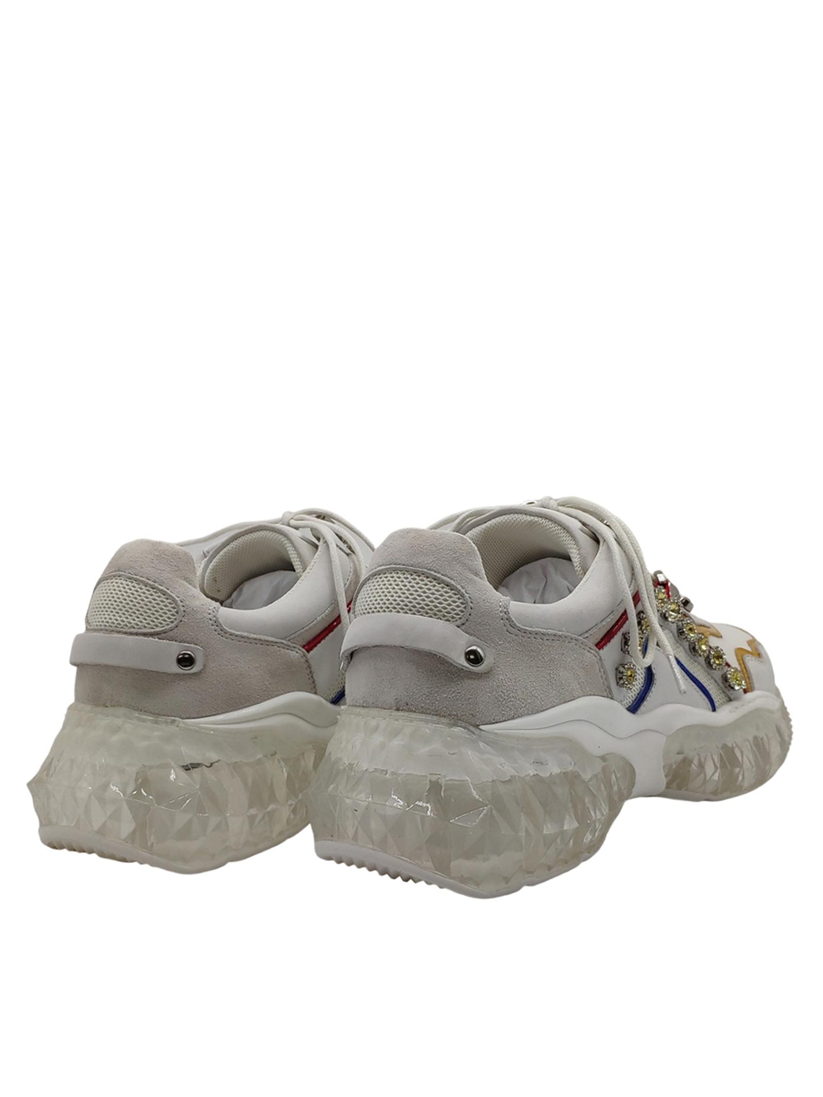 Calzature Donna Sneakers in Pelle Bianca con Borchie e Strass Fondo Diamond Lola Cruz | Sneakers | 452Z88PTBIANCO